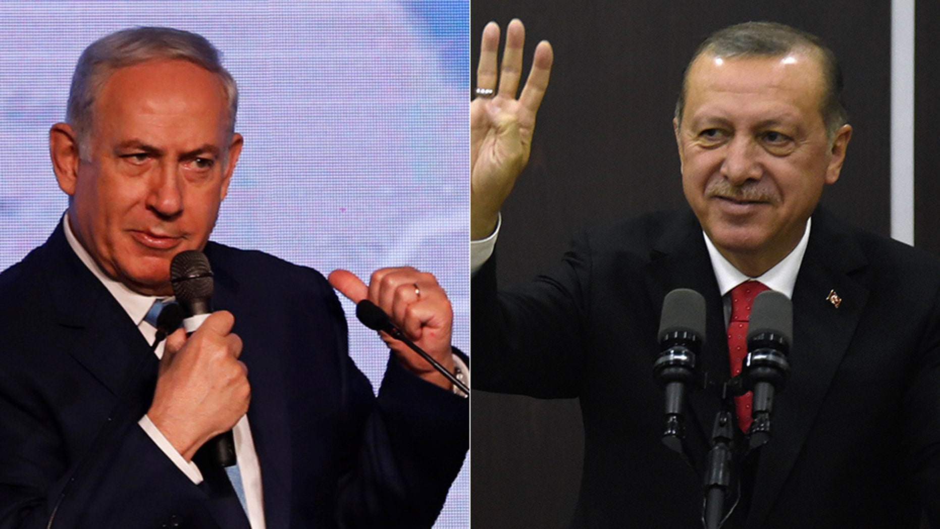 "Turkish President Recep Tayyip Erdogan, right, described Israel as a ""terrorist state,"" leading to a rebuke from Israeli Prime Minister Benjamin Netanyahu."