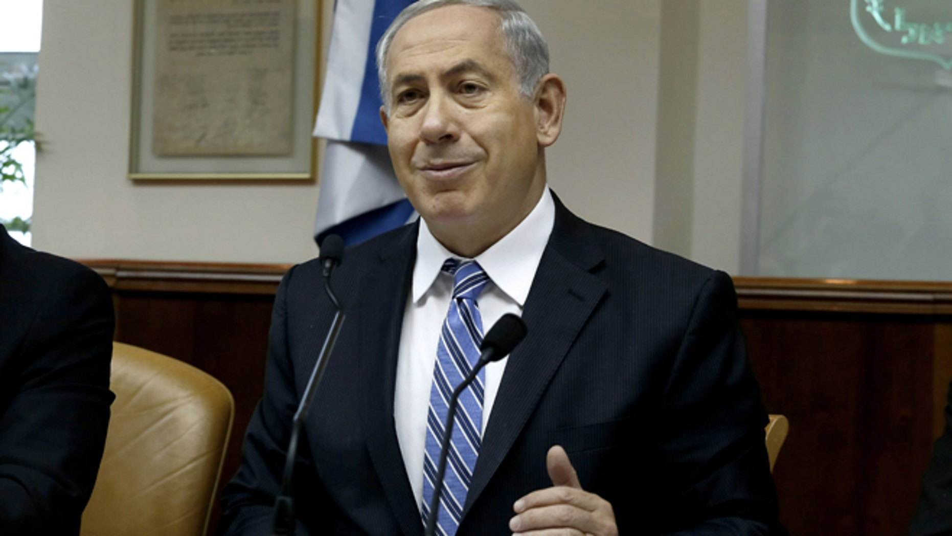 Feb. 2, 2014: Israeli Prime Minister Benjamin Netanyahu chairs the weekly cabinet meeting in Jerusalem.