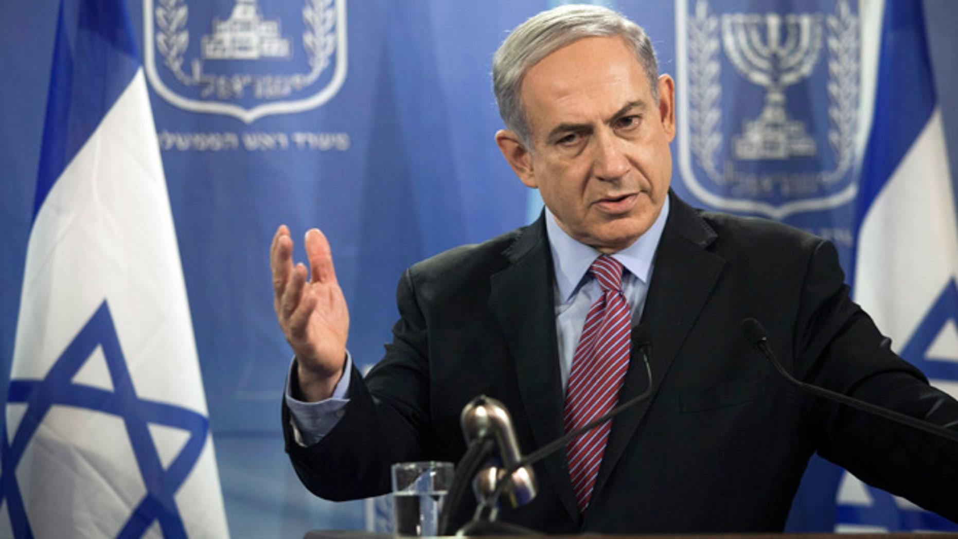 July 22, 2014: Israeli Prime Minister Benjamin Netanyahu speaks during a joint news conference with United Nations Secretary-General Ban Ki-moon, in Tel Aviv, Israel.