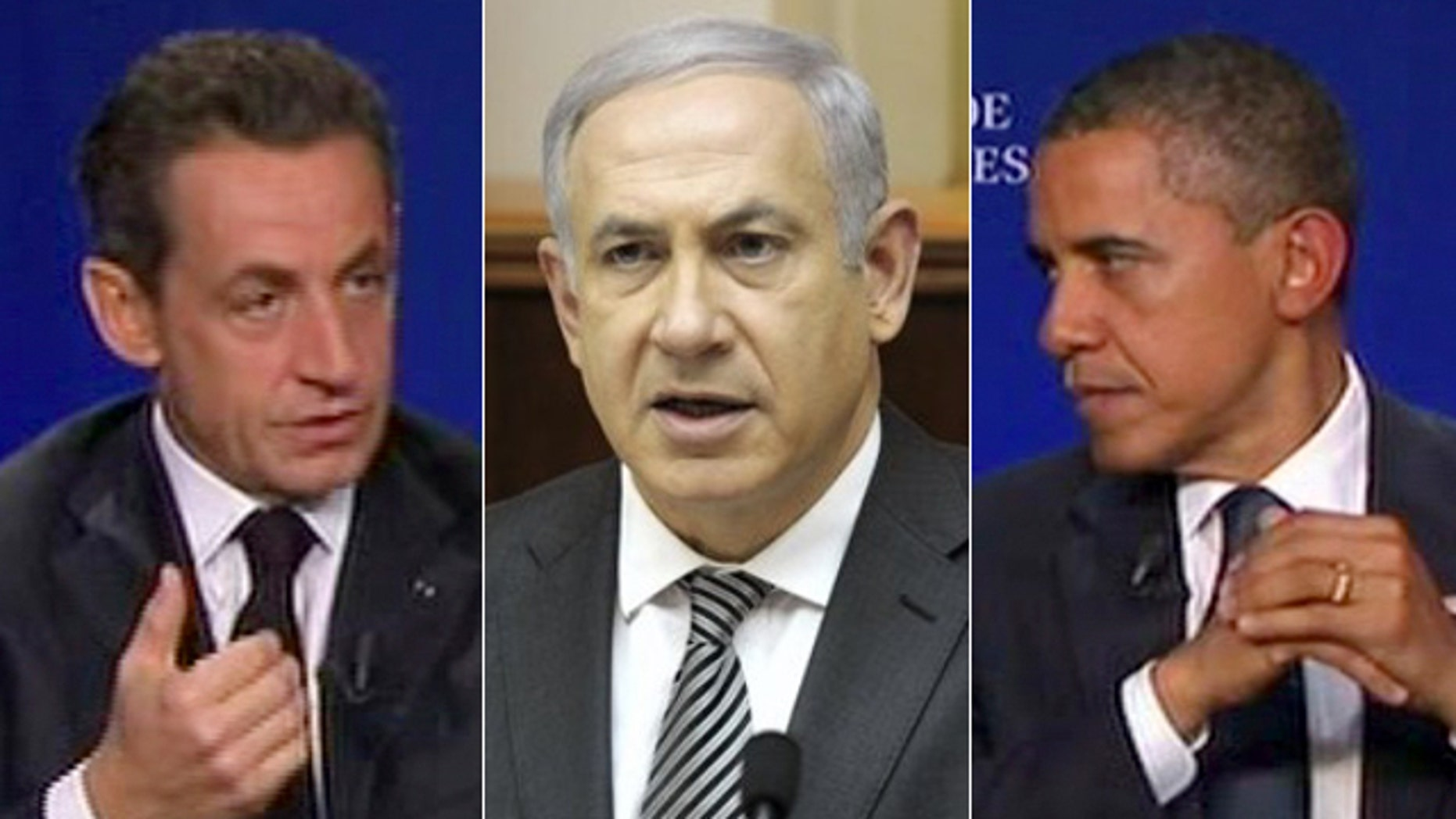 French President Nicolas Sarkozy, left, was overheard calling Israeli Prime Minister Benjamin Netanyahu, center, a 'liar' in a converation with U.S. President Obama last week during the G20 summit.
