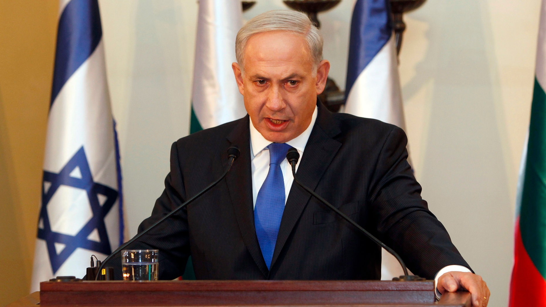FILE: Sept. 11, 2012: Israeli Prime Minister Benjamin Netanyahu speaks at a press conference Jerusalem.