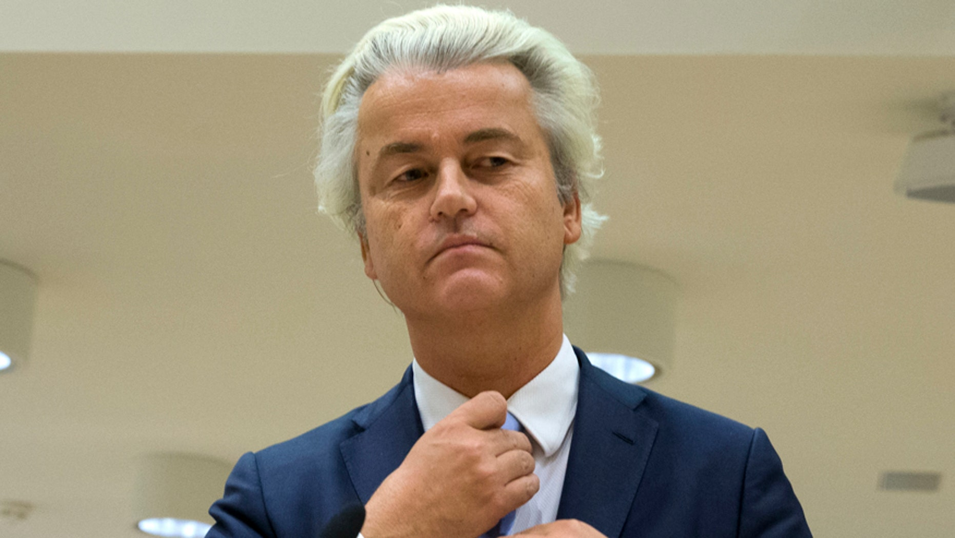 Nov. 23, 2016: Geert Wilders prepares to address judges at a high-security court near Schiphol Airport, Amsterdam.