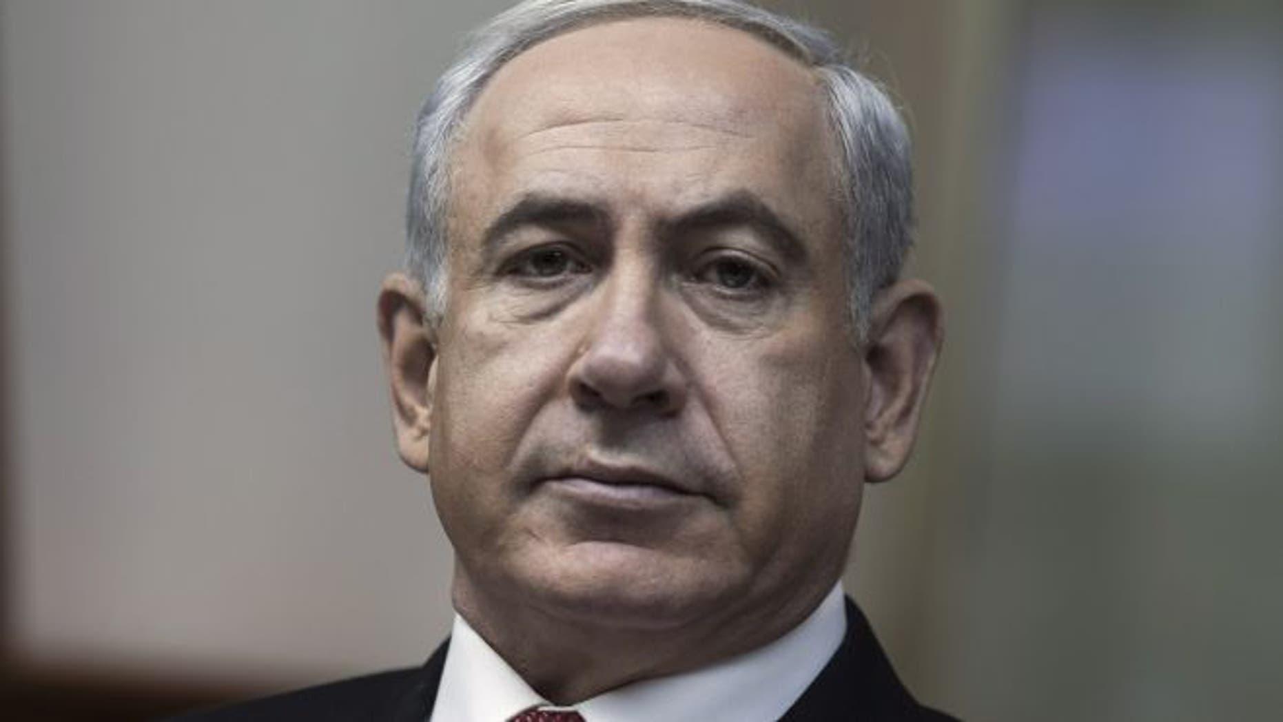 Feb. 3, 2013: Israeli Prime Minister Benjamin Netanyahu attends his weekly cabinet meeting in his Jerusalem offices.