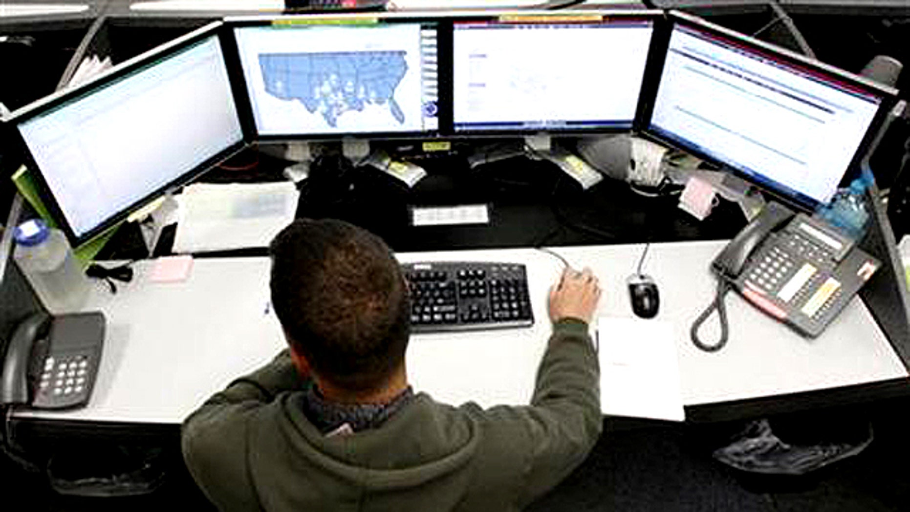 July 20, 2010: A network defender works at the Air Force Space Command Network Operations & Security Center at Peterson Air Force Base in Colorado Springs, Colorado.