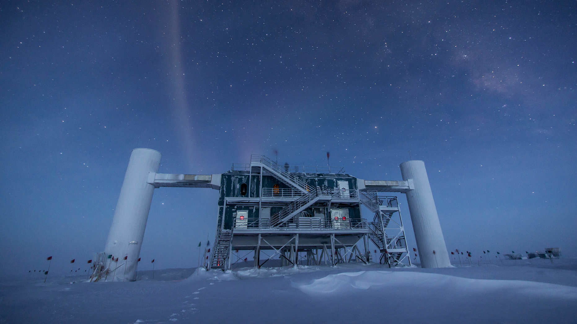The surface facility for the IceCube experiment, which is located under nearly 1 mile (1.6 kilometers) of ice in Antarctica. IceCube suggests ghostly neutrinos don't exist, but a new experiment says they do.