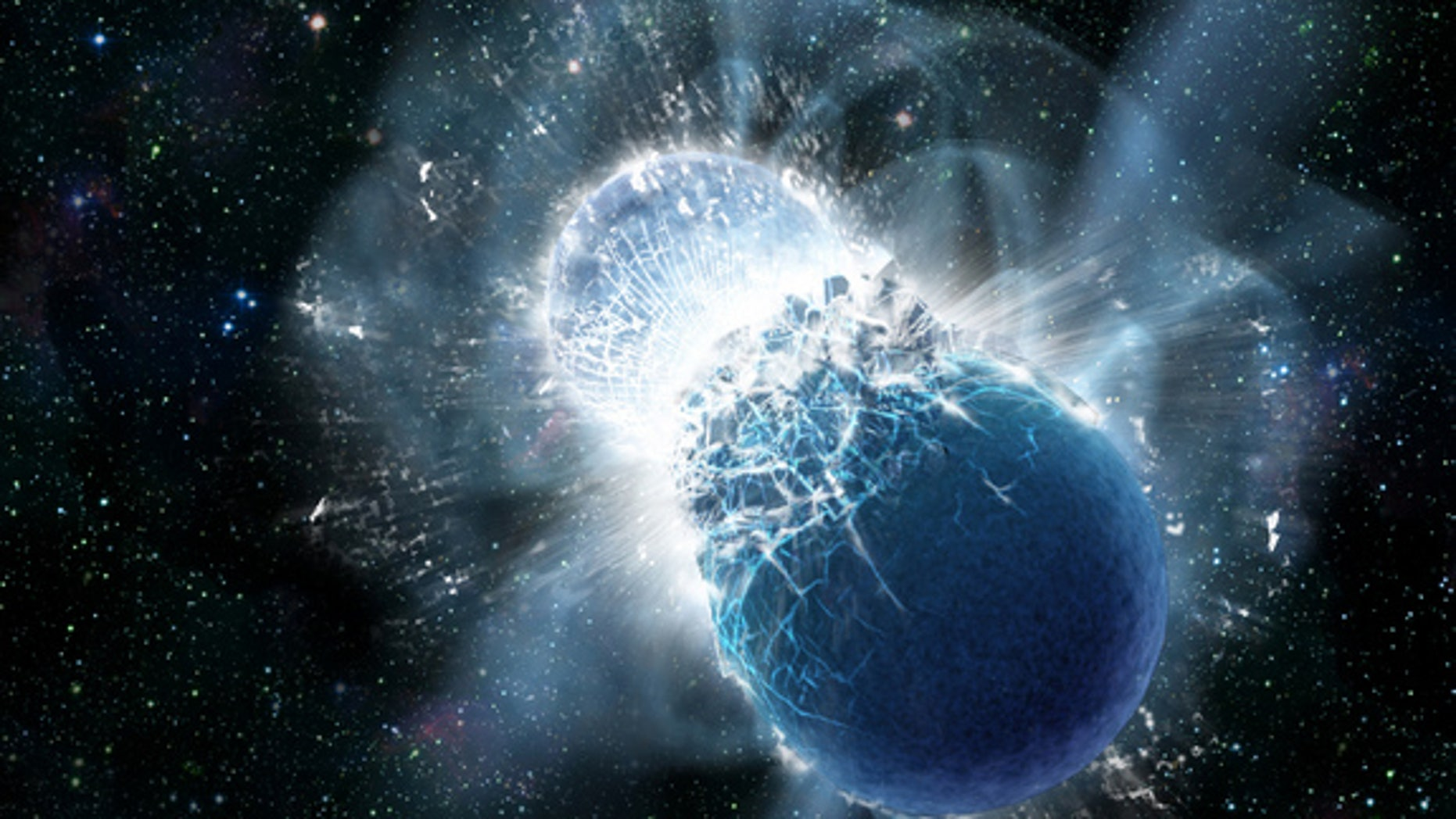 The collision of two neutron stars can create rare elements like gold. Image released on July 17, 2013.