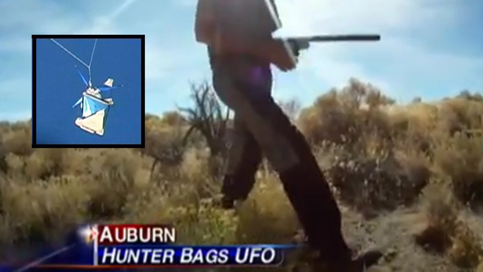 A Nevada hunter and the photo of the strange object that fell from the skies and into his lap, seen here in images from an ABC10 video.