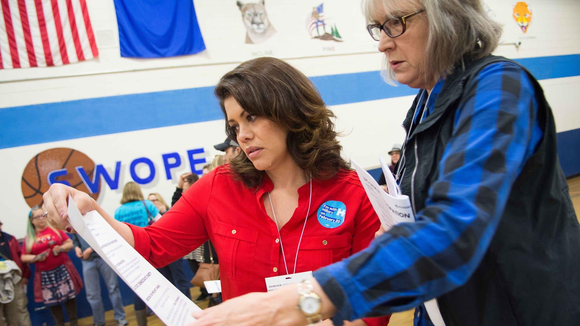 Nevada Assemblywoman Teresa Benitez-Thompson and Martha Hildreth on February 20, 2016 in Reno, Nevada.