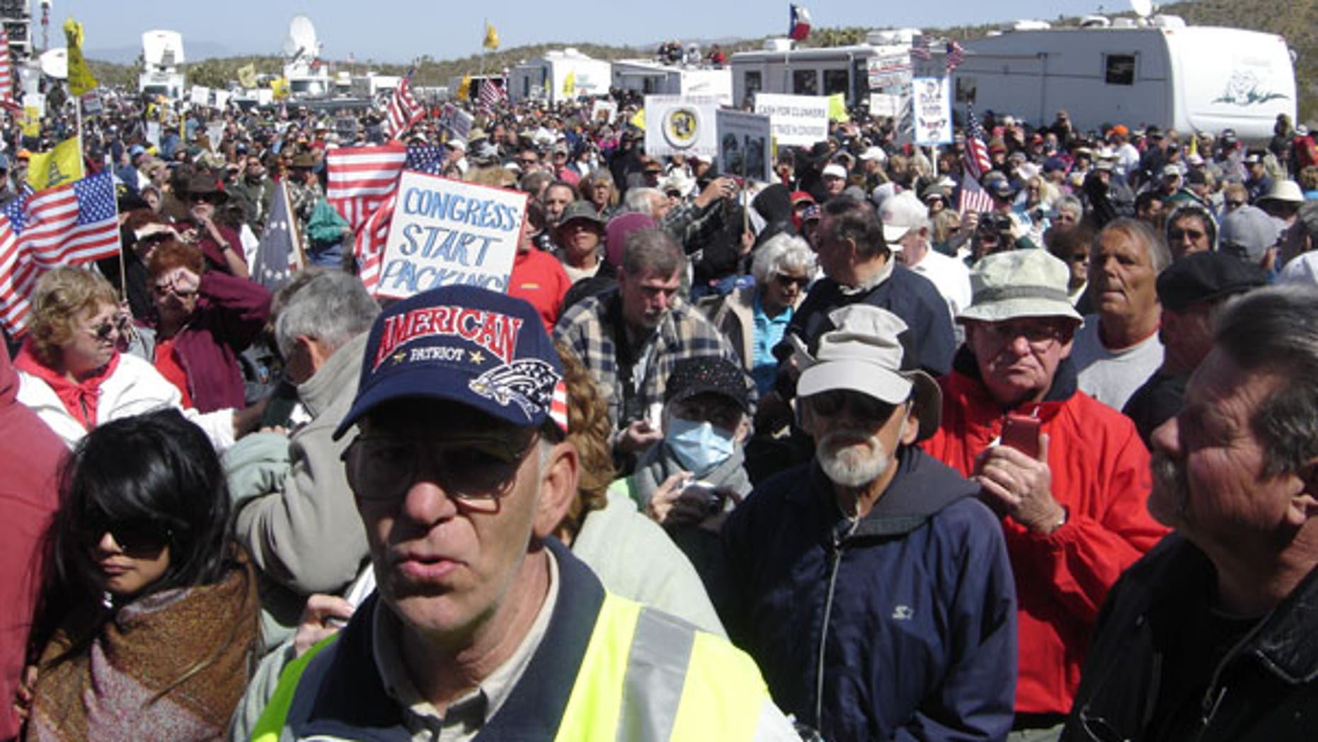 March 27: An estimated 9,000 Tea Party activists rallied in Searchlight, Nev., hometown of Senate Majority Leader Harry Reid, as the movement's 'Tea Party Express' kicked off its 42-city, cross country rally. (FoxNews.com)