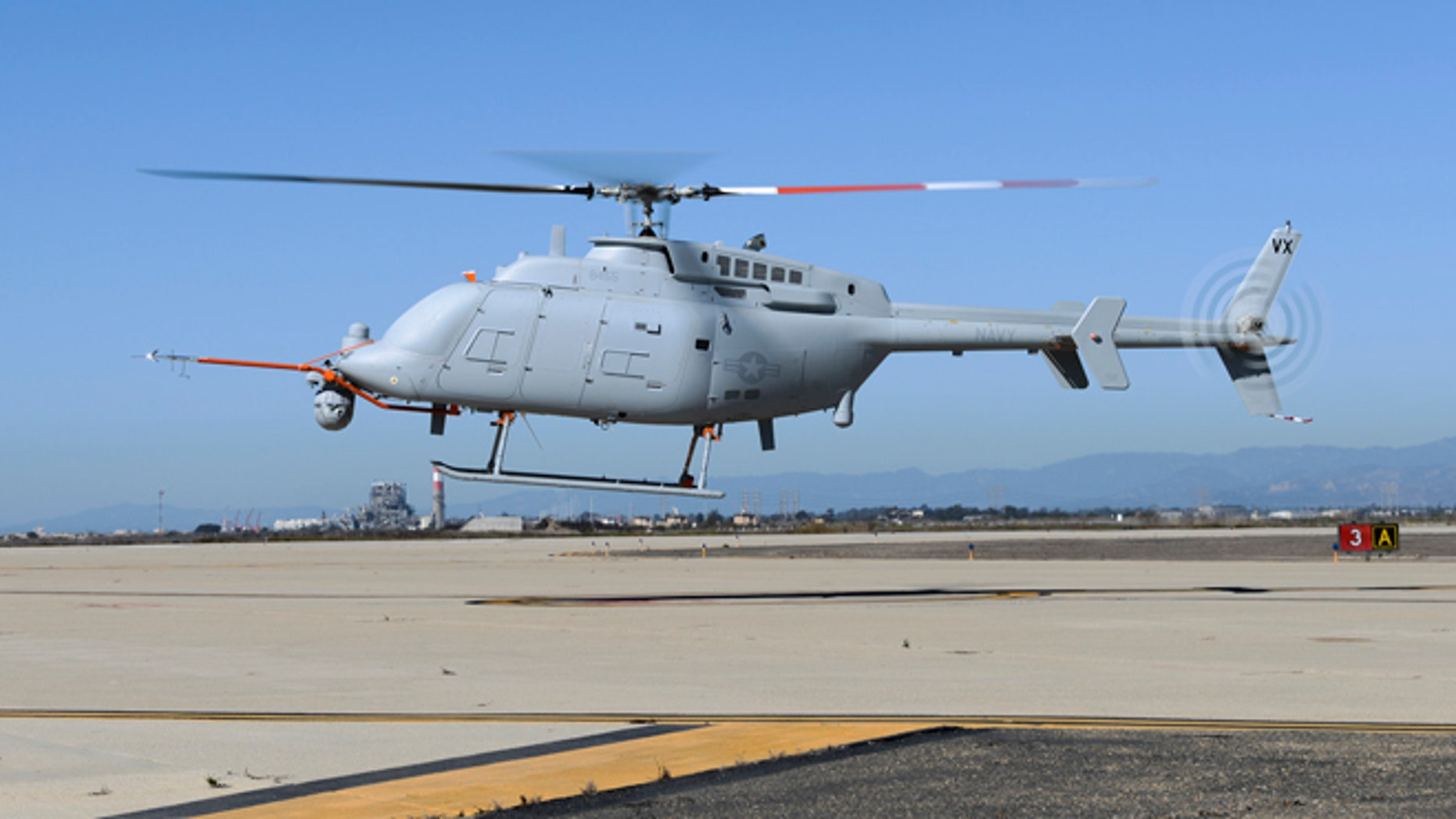 Oct. 31, 2013: An MQ-8C Fire Scout unmanned aerial vehicle takes off from Naval Base Ventura County at Point Mugu. The Navy's newest variant of the Fire Scout unmanned helicopter completed its first day of flying Oct. 31 with two flights reaching 500 feet altitude.