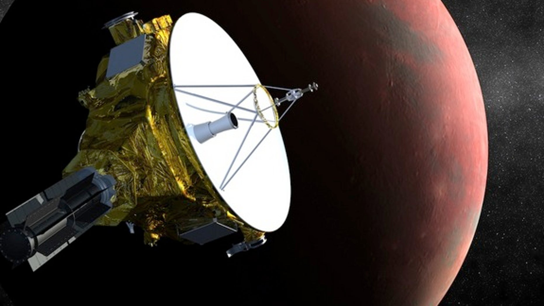 An illustration of the New Horizons spacecraft as it approaches Pluto and its largest moon, Charon.