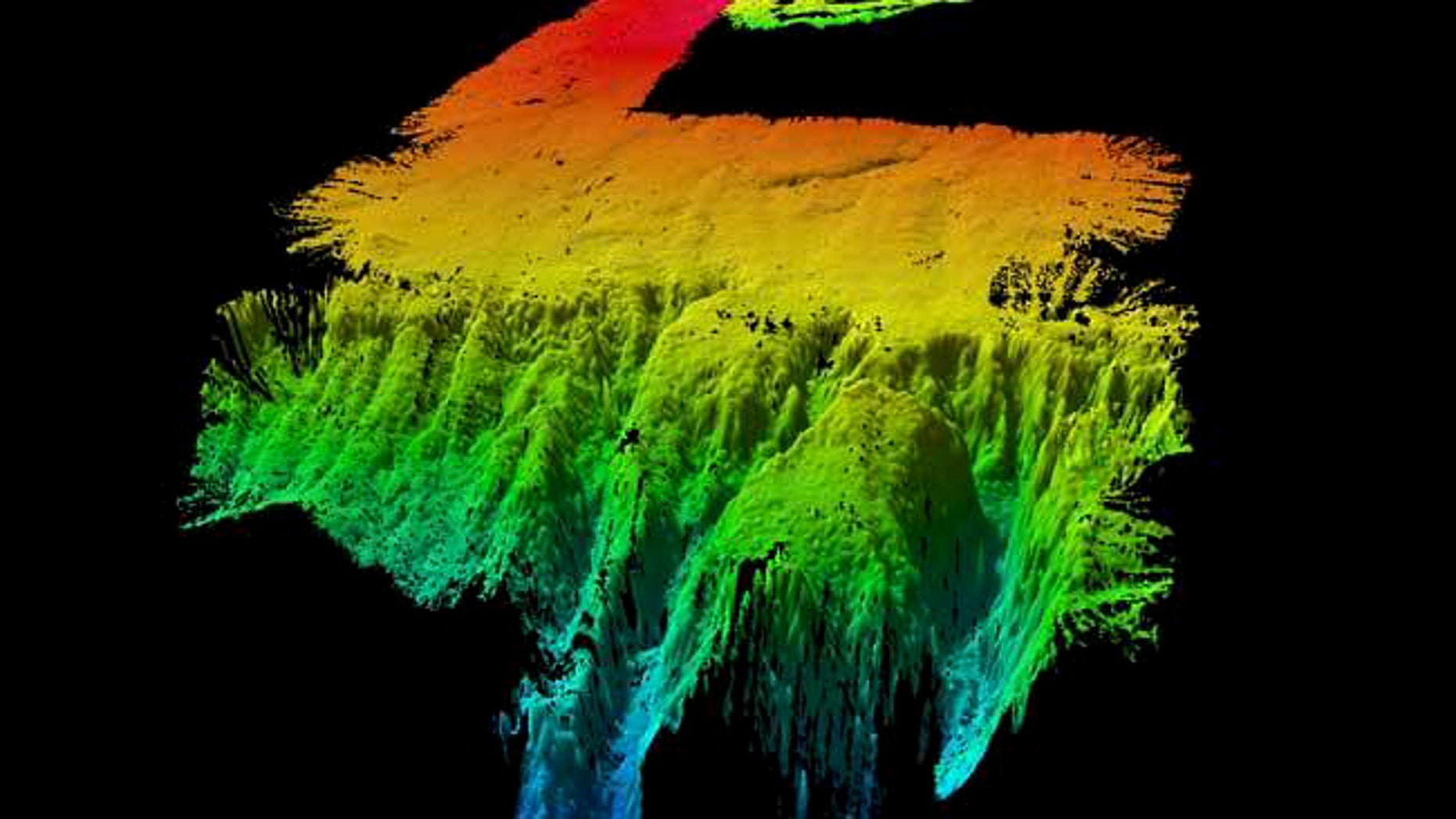 A sonar image of the underwater land masses, almost the size of Tasmania, which scientists believe were once part of the supercontinent Gondwana.