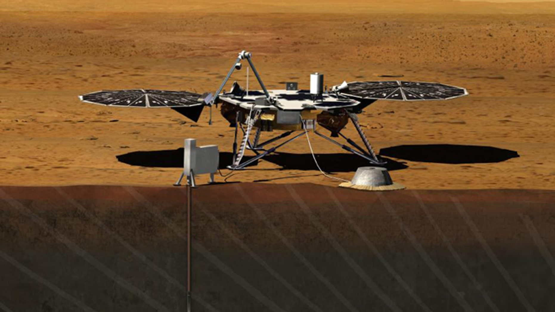 Artist rendition of the proposed InSight (Interior exploration using Seismic Investigations, Geodesy and Heat Transport) Lander. InSight is based on the proven Phoenix Mars spacecraft and lander design with state-of-the-art avionics.