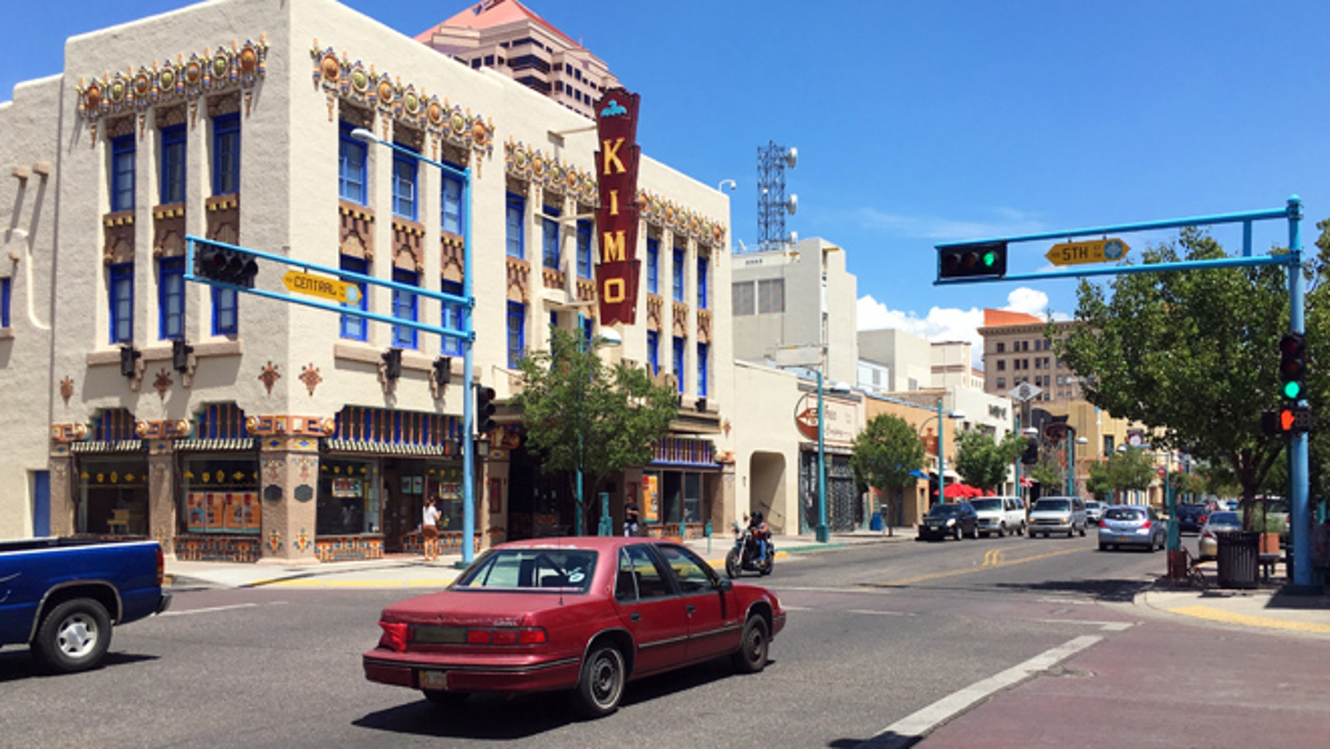 The Kimo Theater is seen on historic Route 66 in downtown Albuquerque, N.M., Monday, Aug. 1, 2016.
