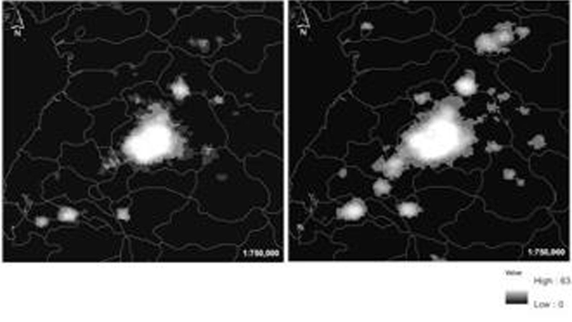 Satellite images show nighttime light in the North Korean capital city of Pyongyang and its surrounding areas in 2002 and 2012.