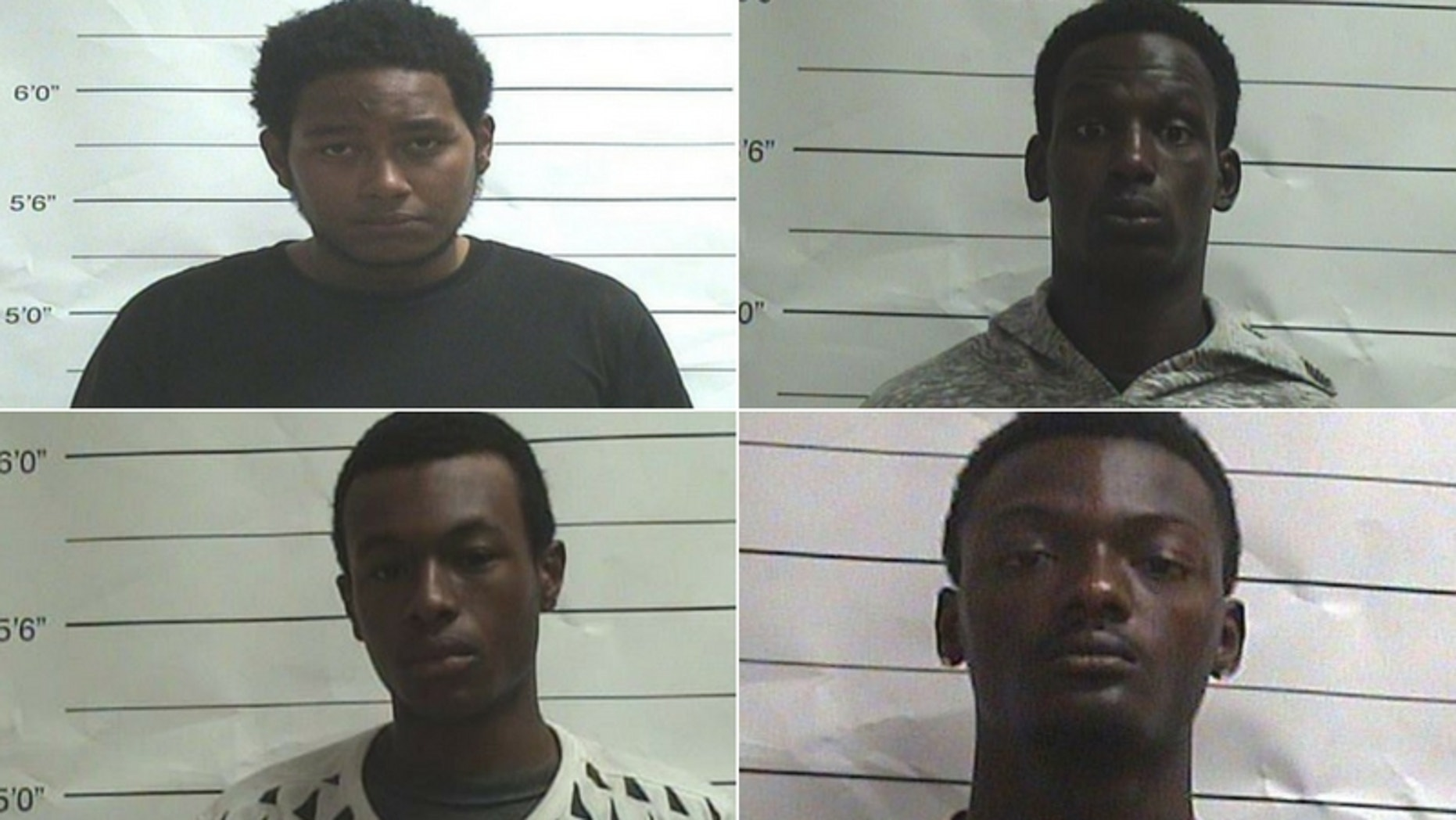 Suspects (clockwise, from top left) Dejuan Paul, 21; Rashaad Piper, 20; Joshua Simmons, 18; and Nicholas Polgowski, 18, are accused of attacking two tourists in New Orleans' French Quarter. (OPSO and New Orleans Police Department)