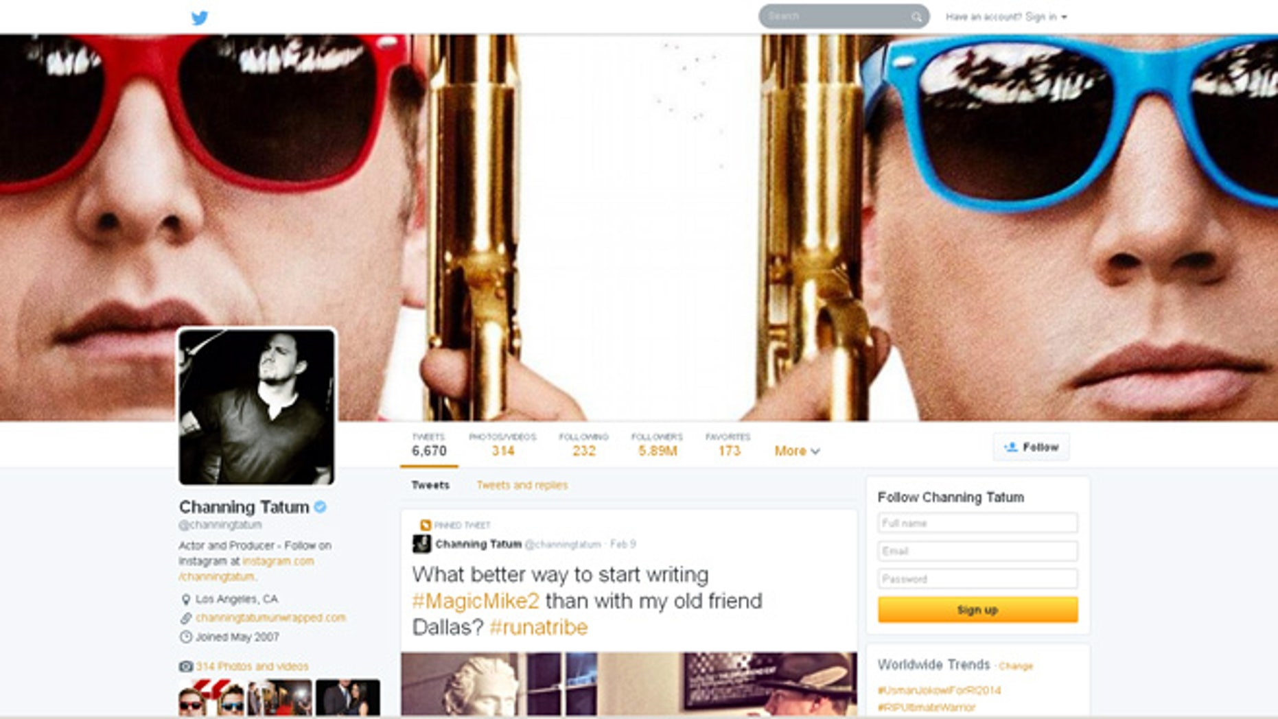 A screenshot of one of Twitter's redesigned profile pages.