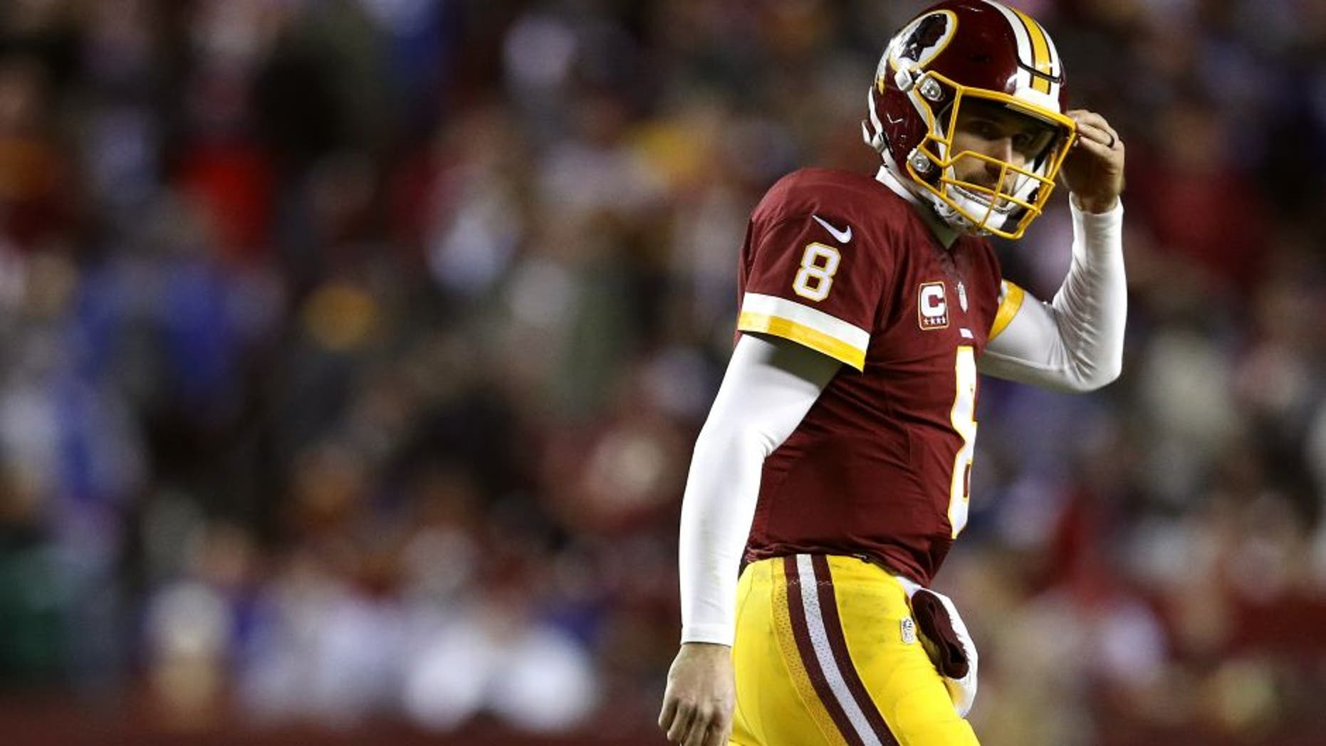 LANDOVER, MD - JANUARY 01: Quarterback Kirk Cousins #8 of the Washington Redskins looks on against the New York Giants in the third quarter at FedExField on January 1, 2017 in Landover, Maryland. (Photo by Patrick Smith/Getty Images)
