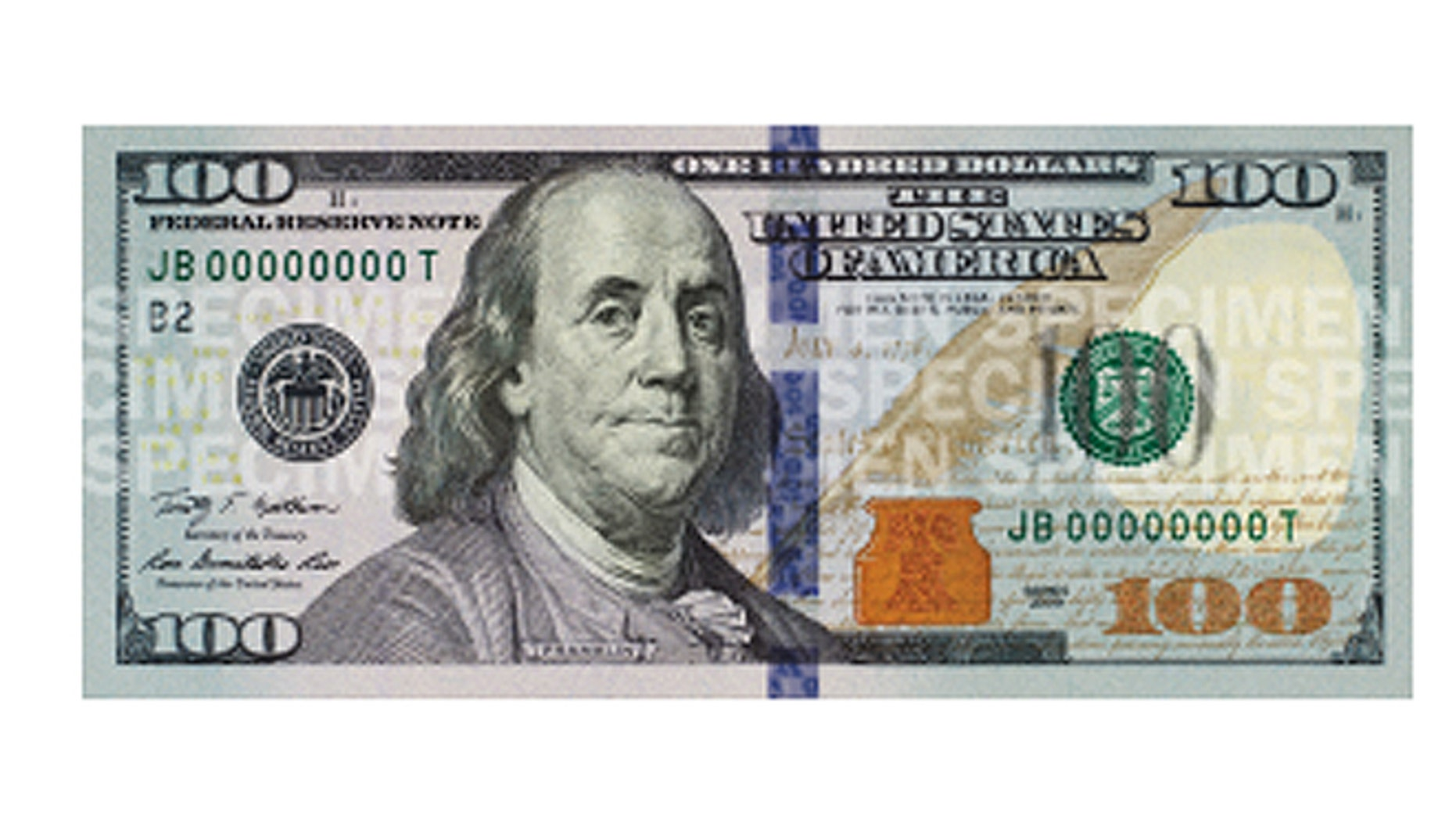 The new $100 bill, seen above, is the latest denomination of U.S. currency to be redesigned and is scheduled to be in circulation beginning on Oct. 8. (U.S. Treasury)