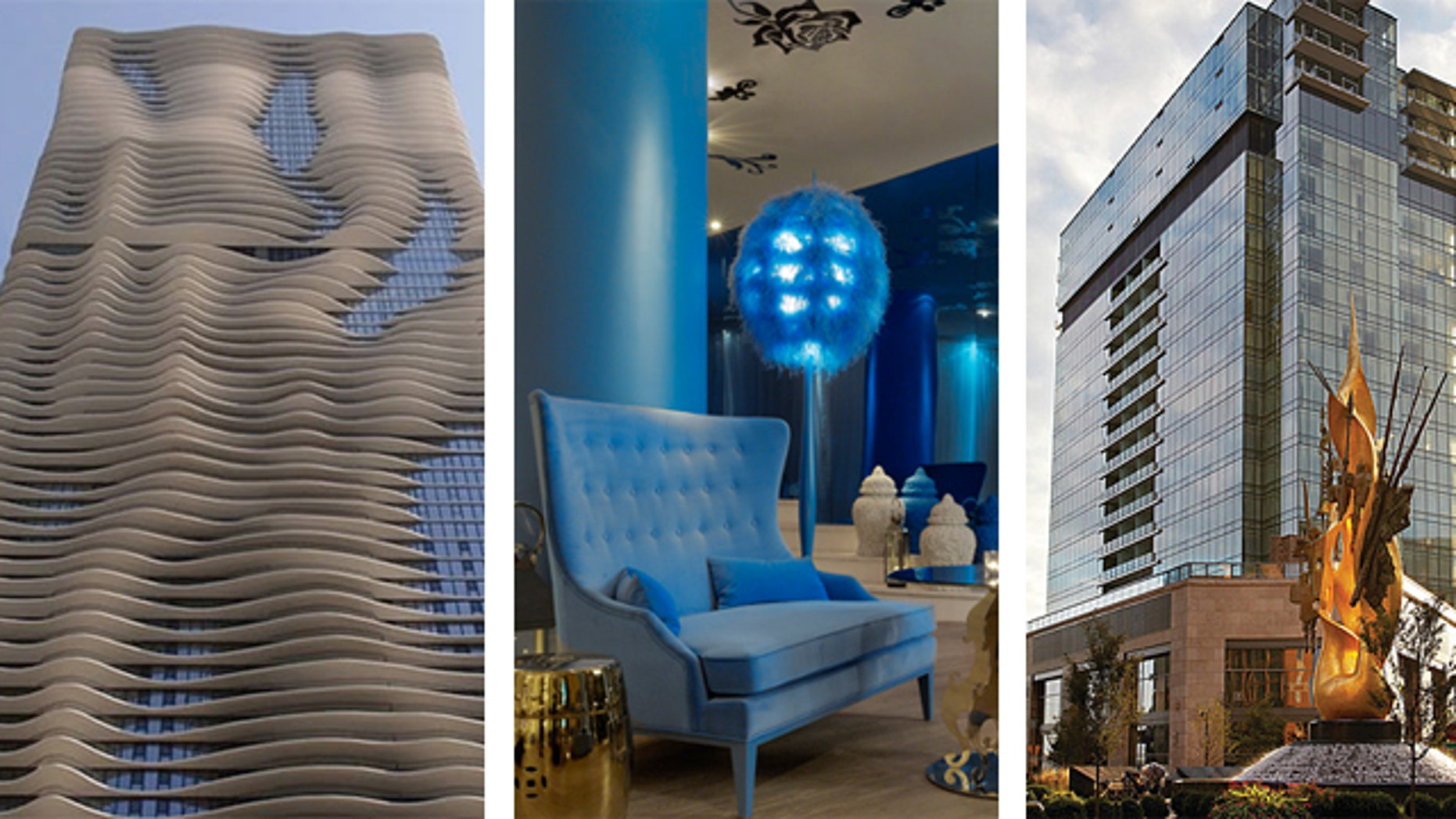 The Radisson Blu Aqua Hotel in Chicago, Mondrian SoHo in New York City and the Four Seasons Hotel in Baltimore, Maryland.