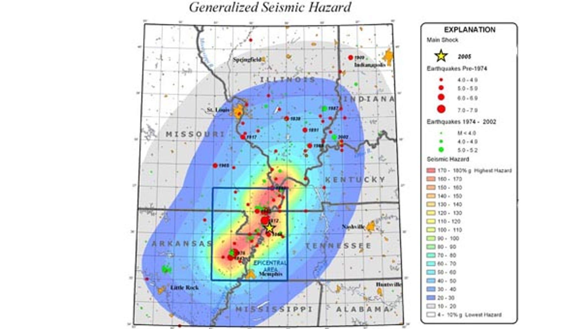New Madrid Seismic Zone map