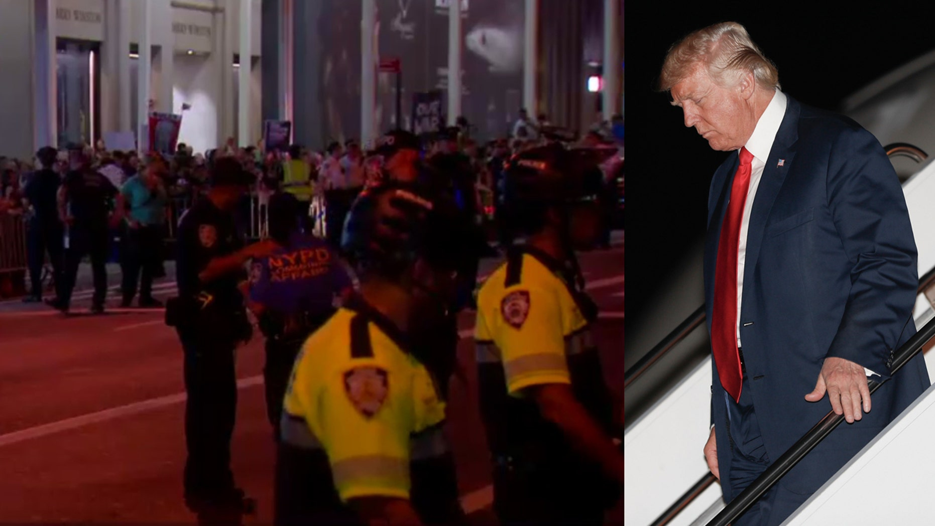 President trump arrived at Trump Tower in Manhattan on Monday night.