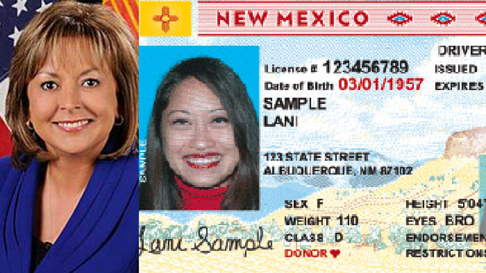 New Mexico Gov. Susana Martinez (l.) is warning that all of the state's driver's licenses will be questioned in January. (State of New Mexico)