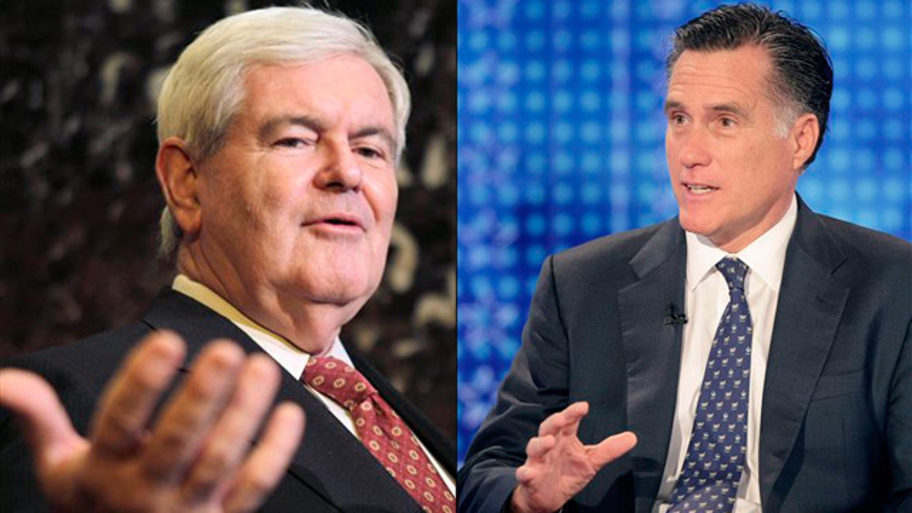 Shown here are former House Speaker Newt Gingrich, left, and former Massachusetts Gov. Mitt Romney.