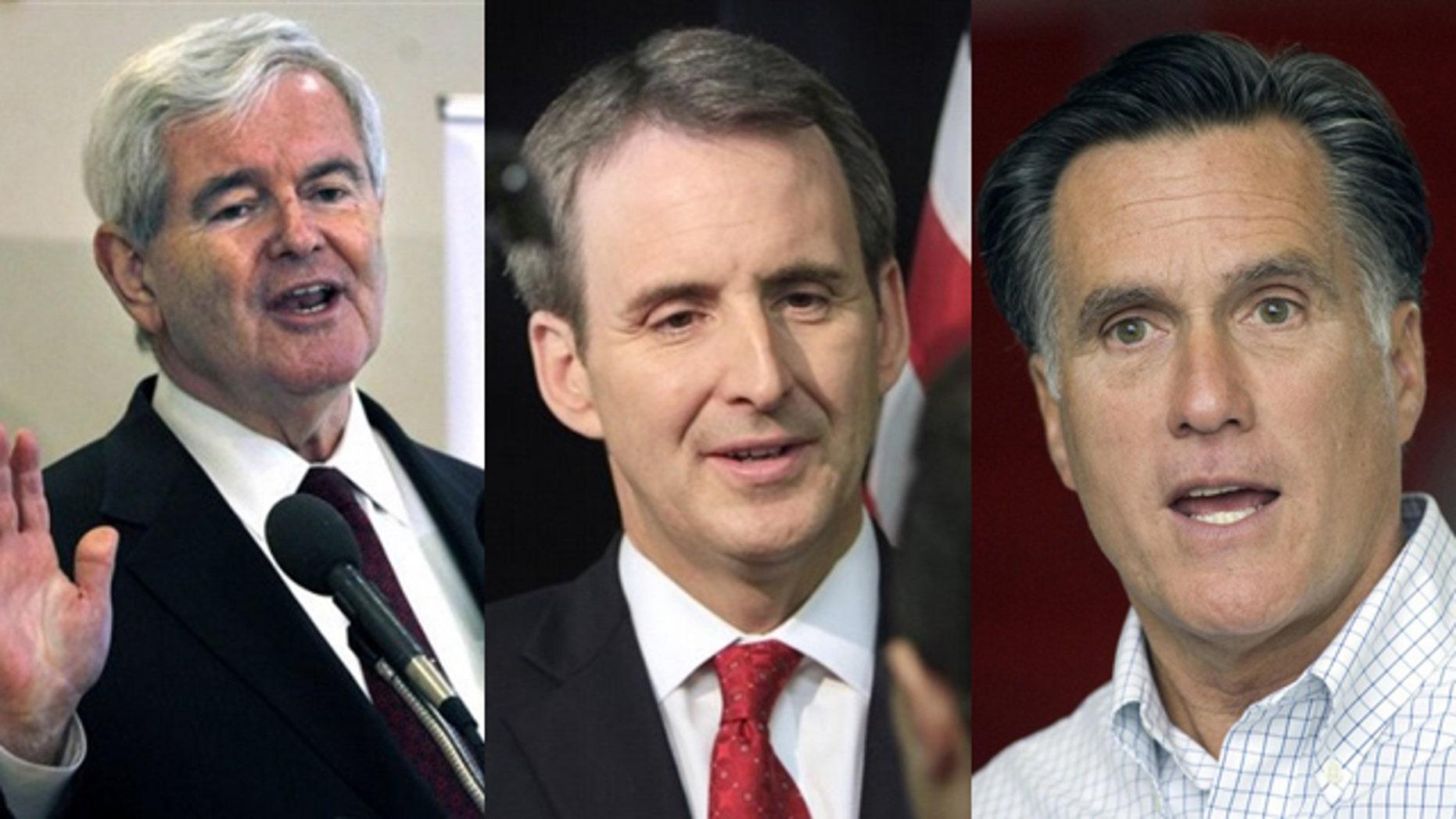 Shown here are former House Speaker Newt Gingrich, left, former Minnesota Gov. Tim Pawlenty, center, and former Massachusetts Gov. Mitt Romney.