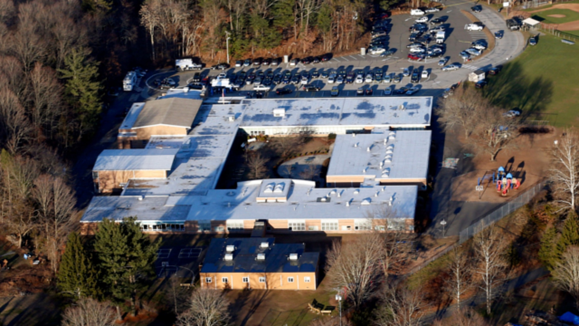 Dec. 14, 2012: This photo shows Sandy Hook Elementary School in Newtown, Conn., where a gunman shot 27 people dead, including 20 children.