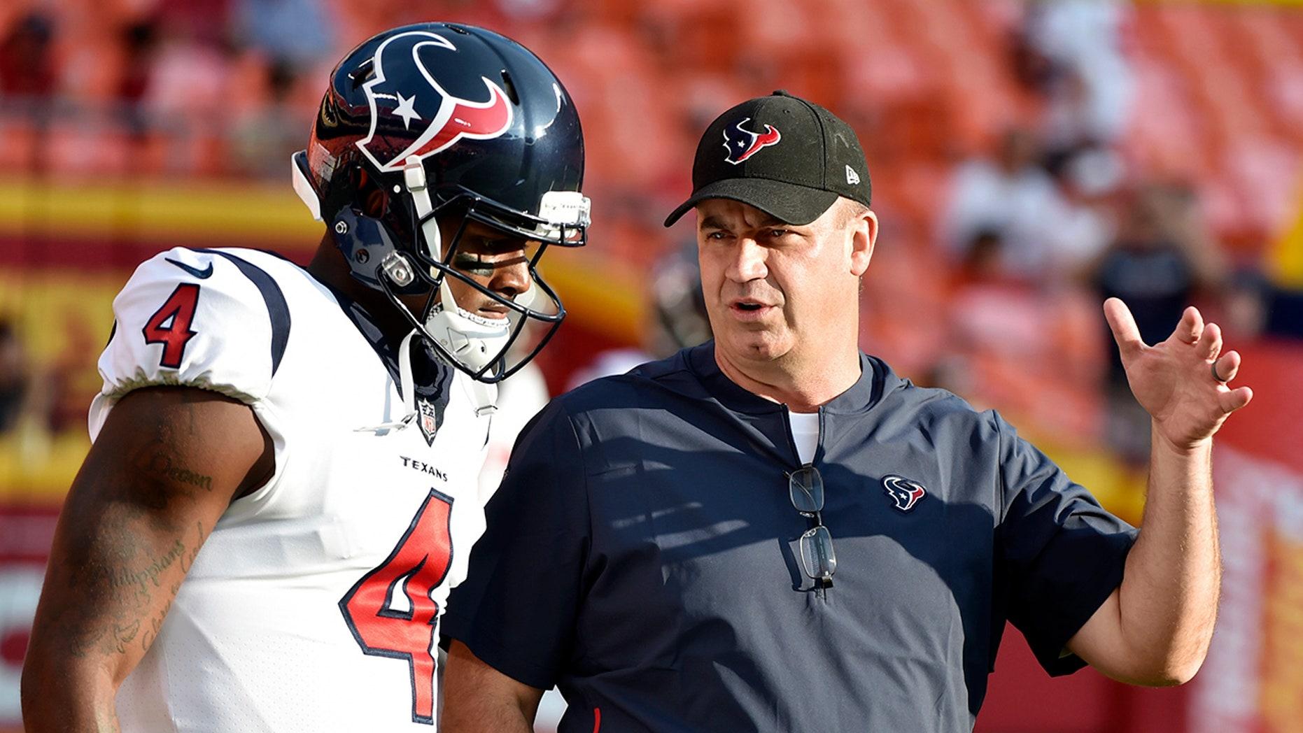 Texans head coach Bill O'Brien, right, defended quarterback Deshaun Watson