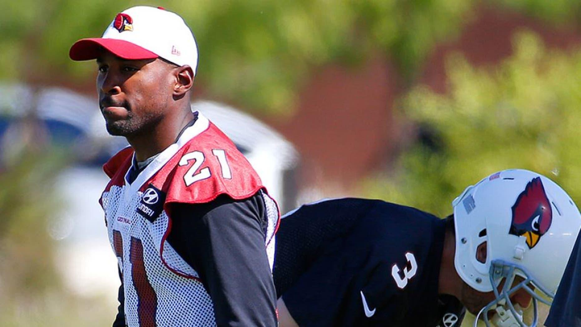 Arizona Cardinals' Patrick Peterson (21) arrives for an NFL football minicamp, Tuesday, June 7, 2016, in Tempe, Ariz. (AP Photo/Matt York)