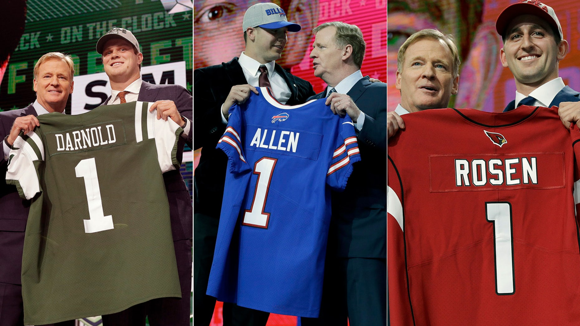 From left: Sam Darnold, Josh Allen and Josh Rosen were drafted by the Jets, Bills and Cardinals in Thursday's NFL Draft.