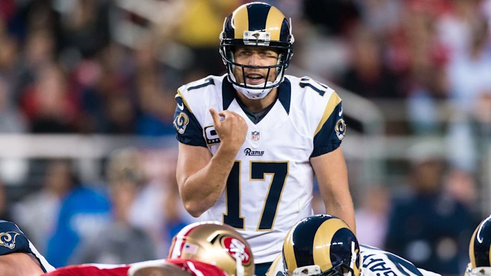 Sep 12, 2016; Santa Clara, CA, USA; Los Angeles Rams quarterback Case Keenum (17) calls the play against the San Francisco 49ers in the first quarter at Levi's Stadium. Mandatory Credit: John Hefti-USA TODAY Sports