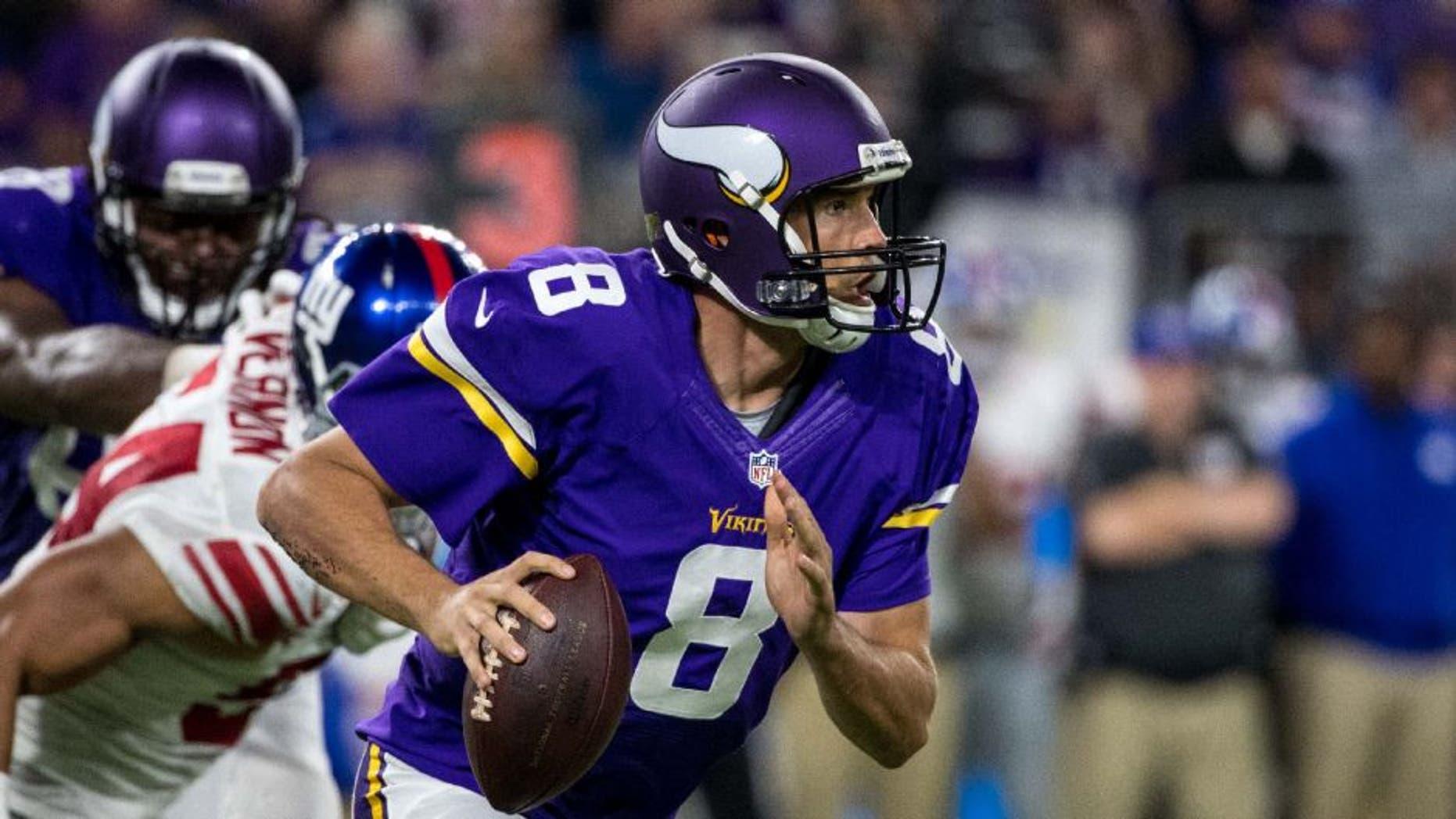 Minnesota Vikings quarterback Sam Bradford throws against the New York Giants.