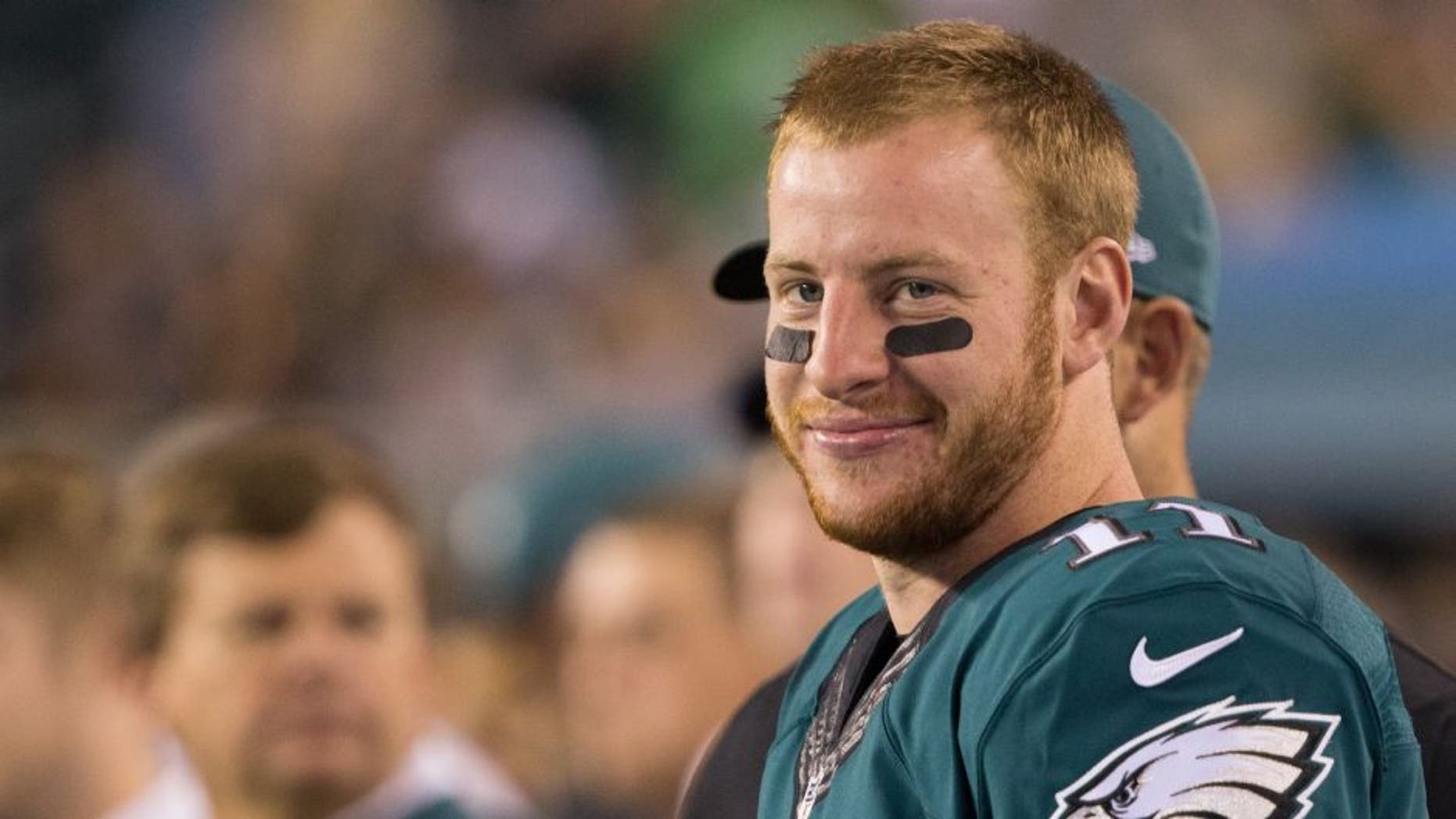 Sep 25, 2016; Philadelphia, PA, USA; Philadelphia Eagles quarterback Carson Wentz (11) on the sideline during action against the Pittsburgh Steelers at Lincoln Financial Field. The Philadelphia Eagles won 34-3. Mandatory Credit: Bill Streicher-USA TODAY Sports
