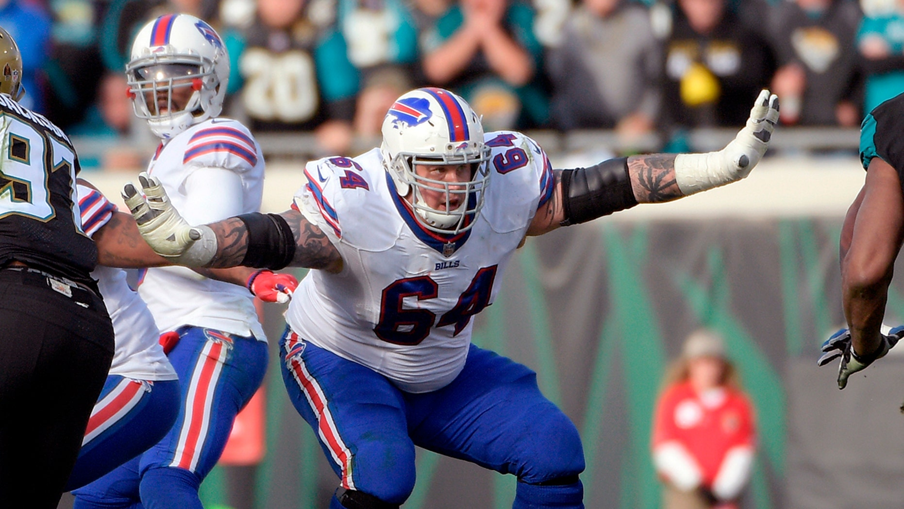 Buffalo Bills offensive guard Richie Incognito (64) sets up to block against the Jacksonville Jaguars during the second half of an NFL wild-card playoff football game in Jacksonville, Fla.