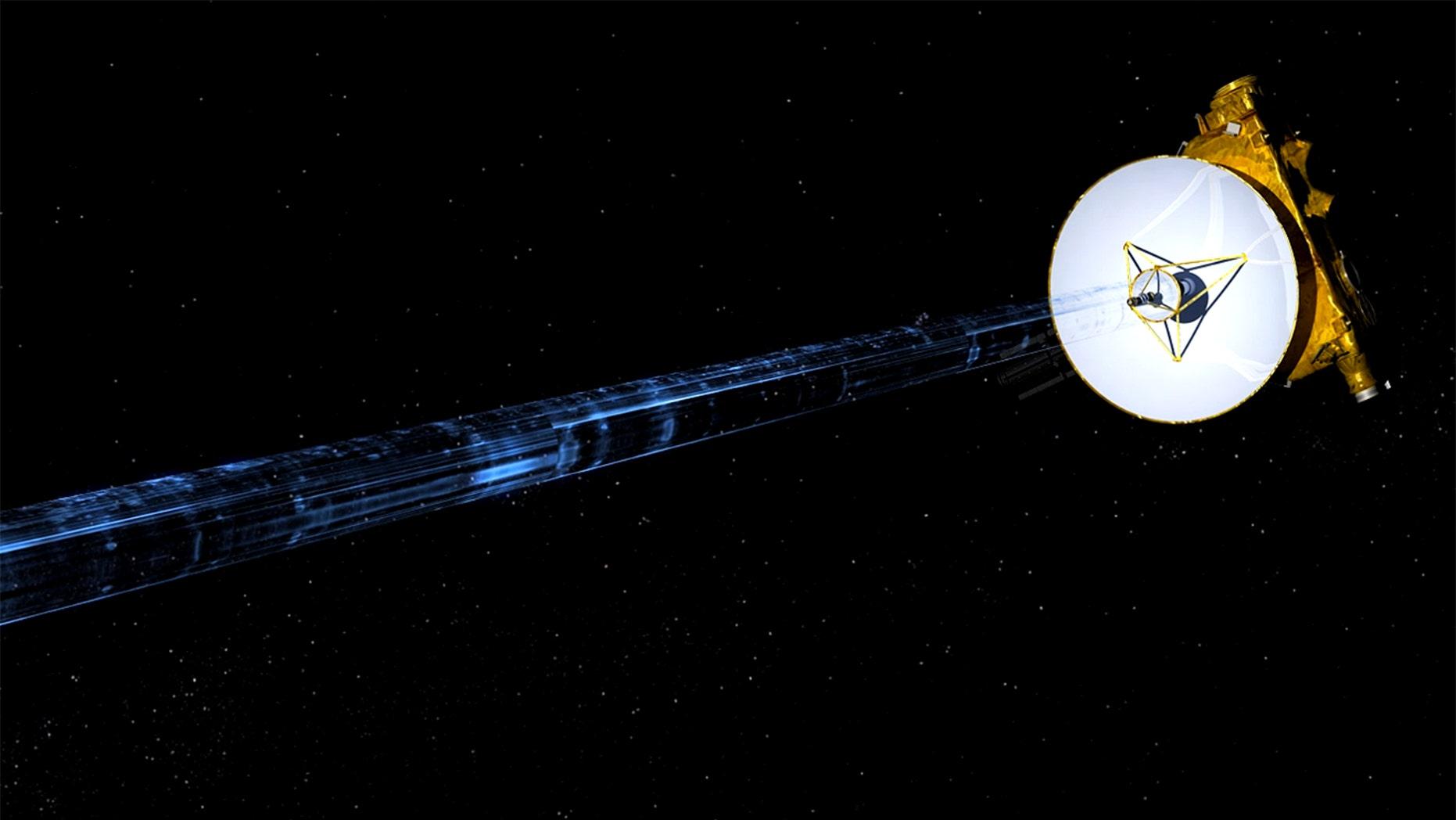 Artist's illustration of NASA's New Horizons spacecraft transmitting data back to Earth. (NASA/JHUAPL/SwRI)