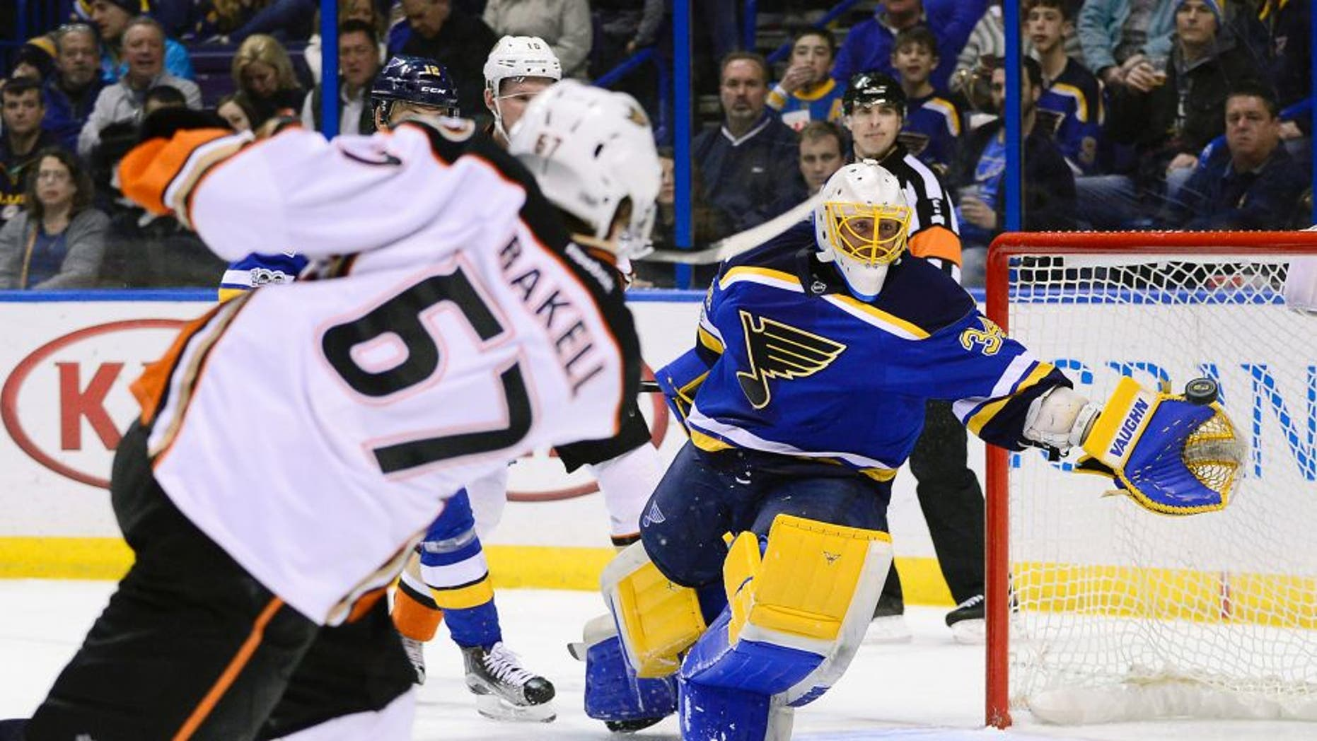 Mar 10, 2017; St. Louis, MO, USA; St. Louis Blues goalie Jake Allen (34) is unable to save a goal scored by Anaheim Ducks center Rickard Rakell (67) during the first period at Scottrade Center. Mandatory Credit: Jeff Curry-USA TODAY Sports