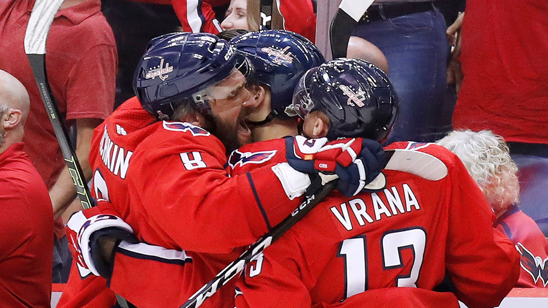 Washington Capitals forward Alex Ovechkin, left, and Washington Capitals forward Jakub Vrana, right, celebrate one of their team's goals against the Vegas Golden Knights during the third period.