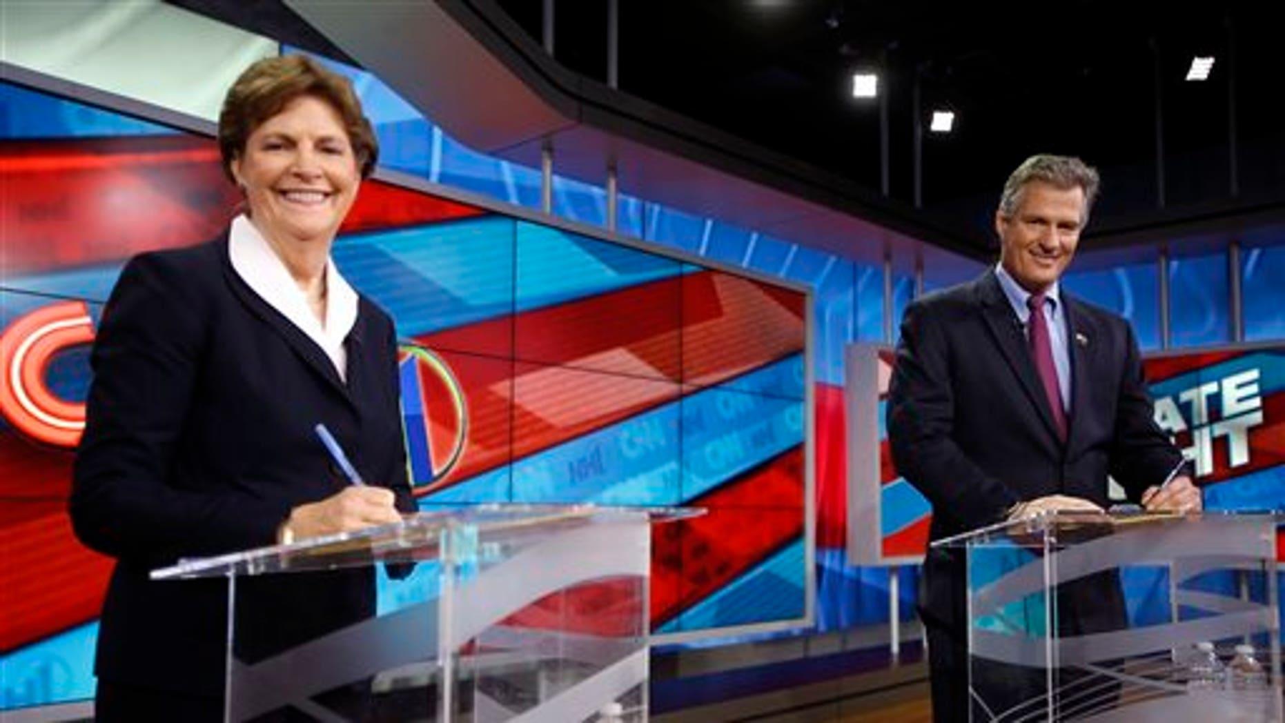 Oct. 23, 2014: U.S. Sen. Jeanne Shaheen, D-N.H., left, and former Massachusetts Republican U.S. Sen. Scott Brown before a live televised U.S. Senate debate.