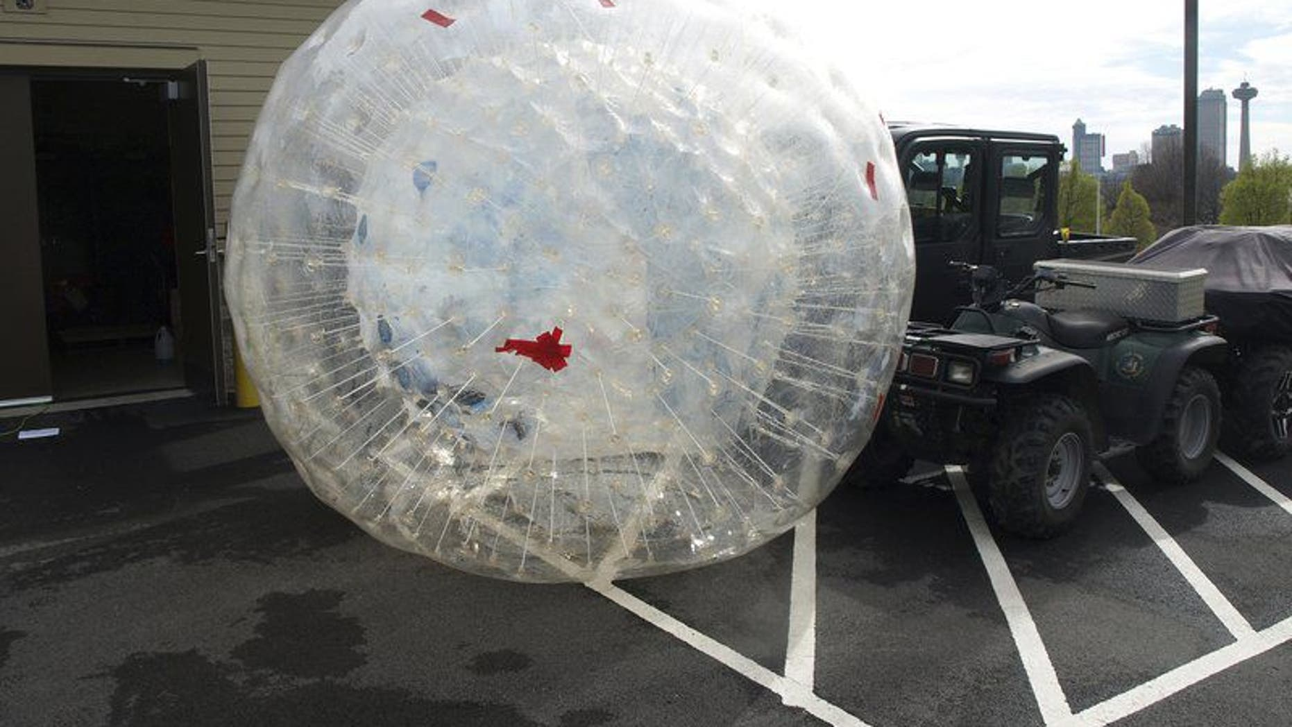 The inflatable ball Kirk Jones was to use for his stunt over Niagara Falls was recovered by the New York State Park Police. (New York State Park Police)