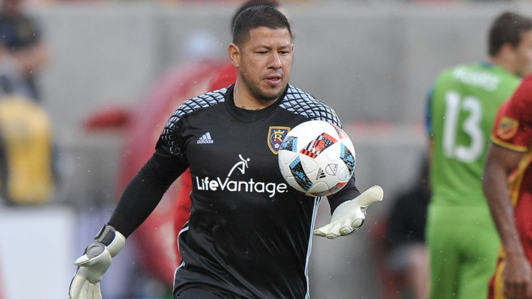 SANDY, UT - MARCH 12: Goalie Nick Rimando #18 of Real Salt Lake eyes the ball in the game against Seattle Sounders FC at Rio Tinto Stadium on March 12, 2016 in Sandy, Utah. (Photo by Gene Sweeney Jr/Getty Images)