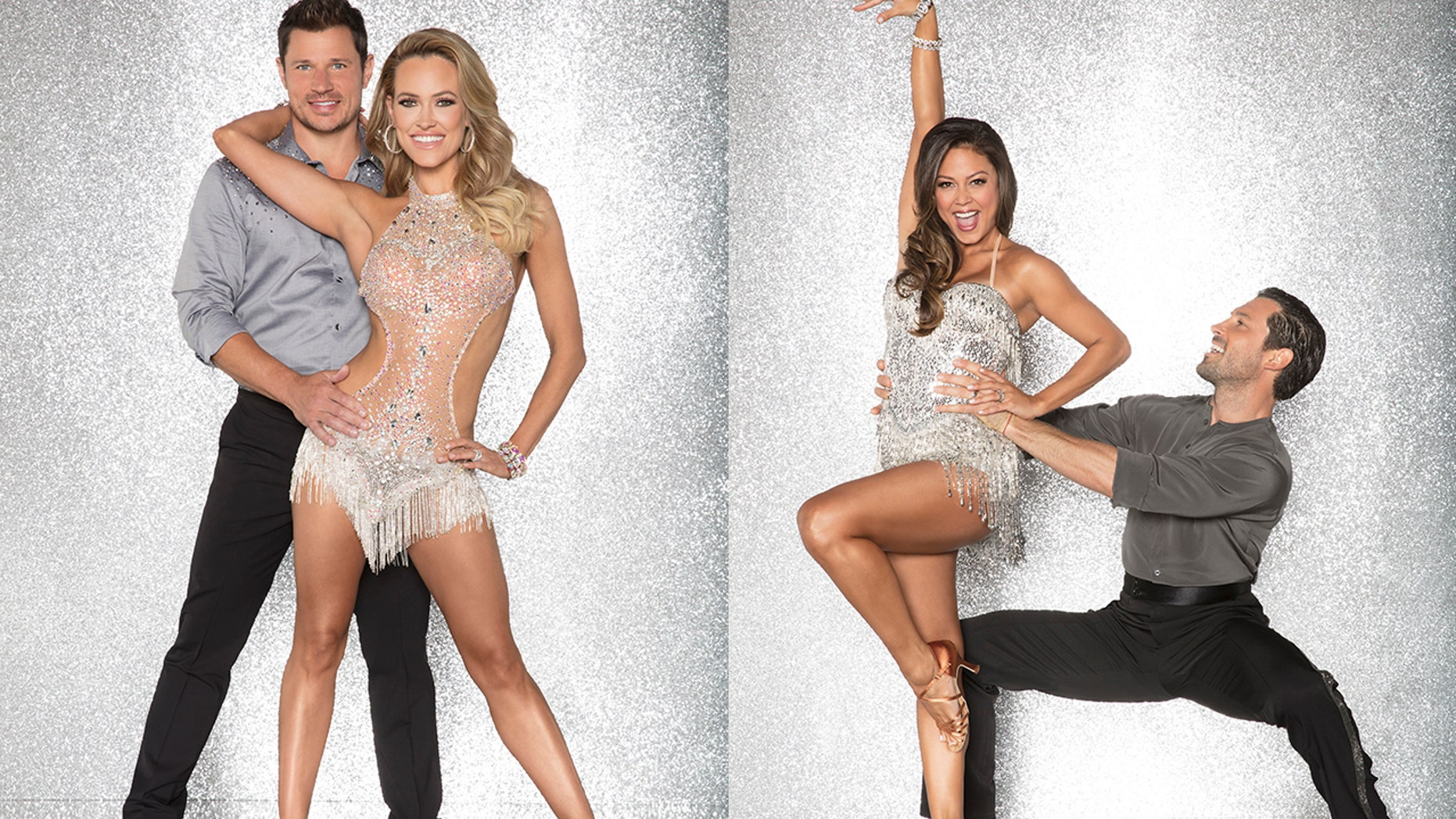 """Nick Lachey (left) and his """"Dancing With the Stars"""" partner Peta Murgatroyd. Vanessa Lachey (middle right) and her partner Maksim Chmerkovskiy."""