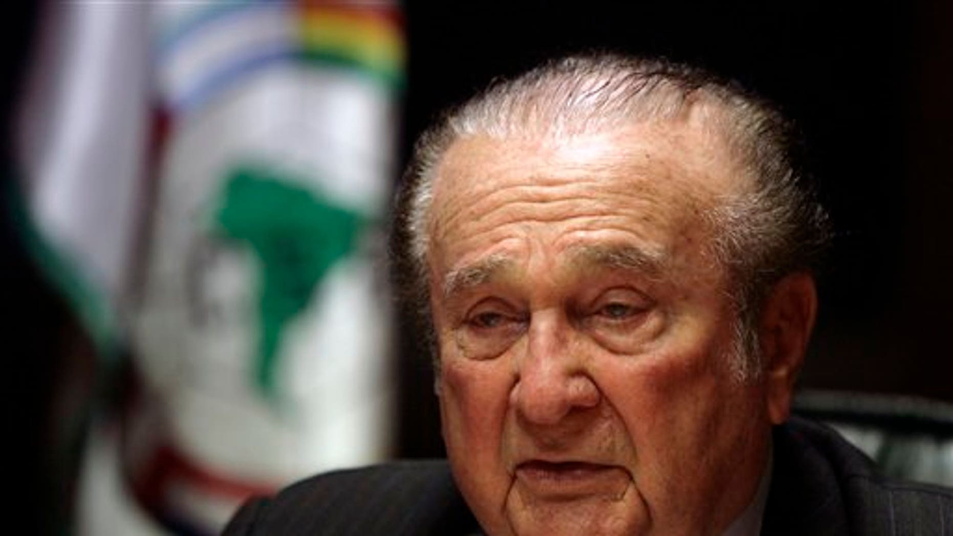 Conmebol's President Nicolas Leoz speaks during a press conference in Asuncion, in this Friday, May 8, 2009 file photo.   Two European newspapers say they have obtained a document naming three FIFA executive committee members who allegedly received secret payments from world football's former marketing agency.  The allegations come three days before the trio are to take part in FIFA's vote on the hosts for the 2018 and 2002 World Cups. Swiss newspaper Tages-Anzeiger and Germany's Sueddeutsche Zeitung identify them as Ricardo Teixeira of Brazil, Nicolas Leoz of Paraguay and Issa Hayatou of Cameroon.   (AP Photo/Jorge Saenz, file)