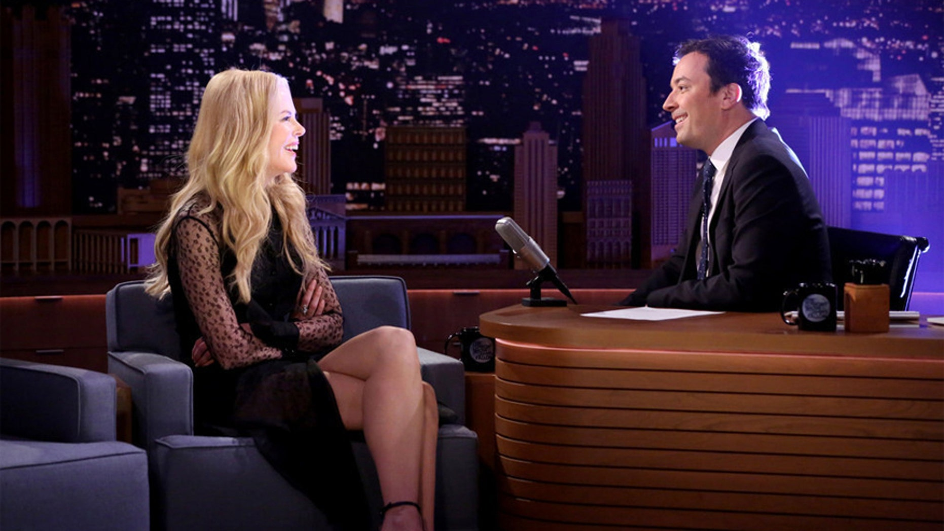 Pictured: (l-r) Actress Nicole Kidman during an interview with host Jimmy Fallon on November 17, 2016.