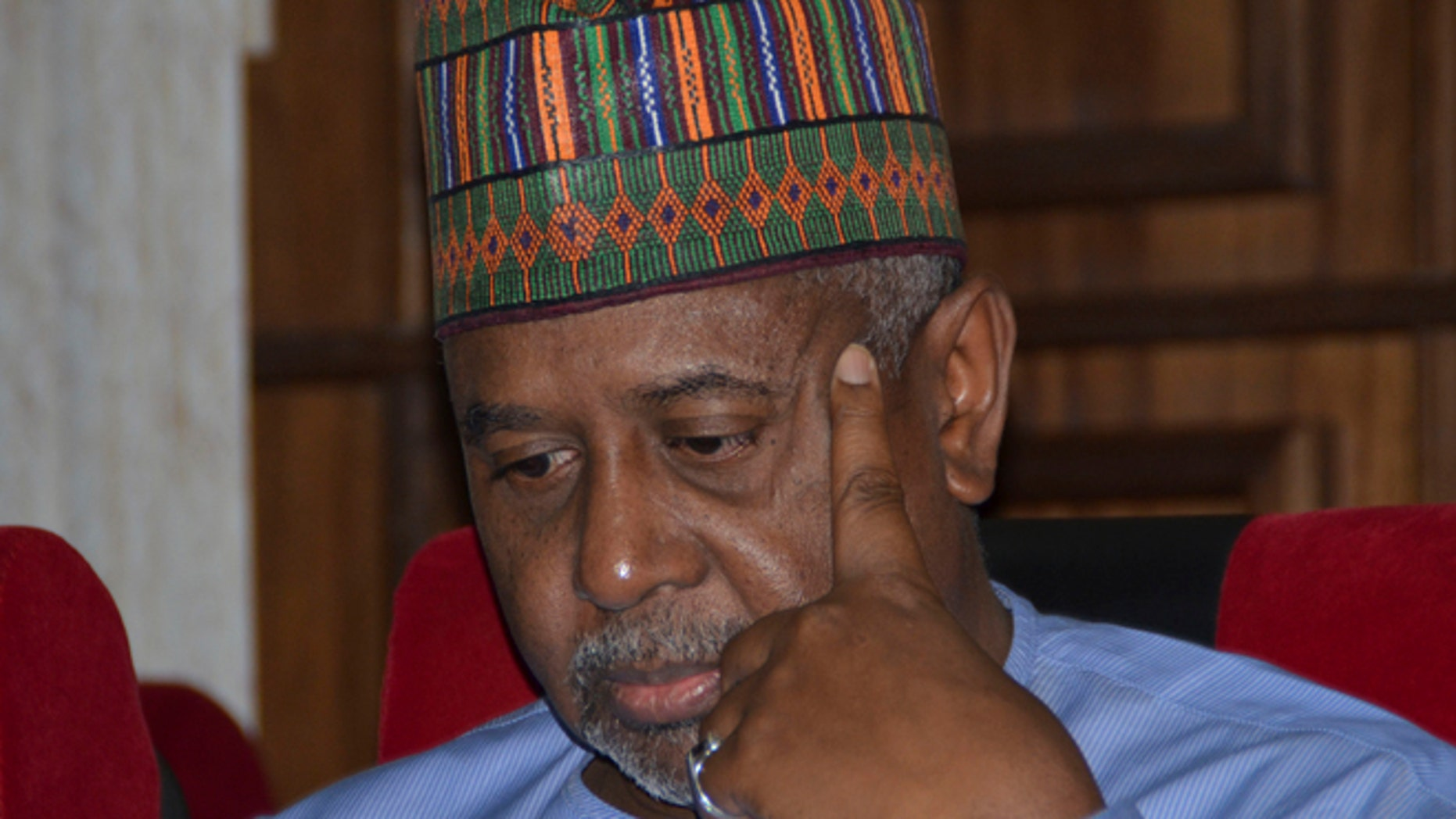 Sept. 1, 2015: Nigeria's former national security adviser Sambo Dasuki attends a hearing to face charges of possessing weapons illegally, at the Federal High Court in Abuja, Nigeria.