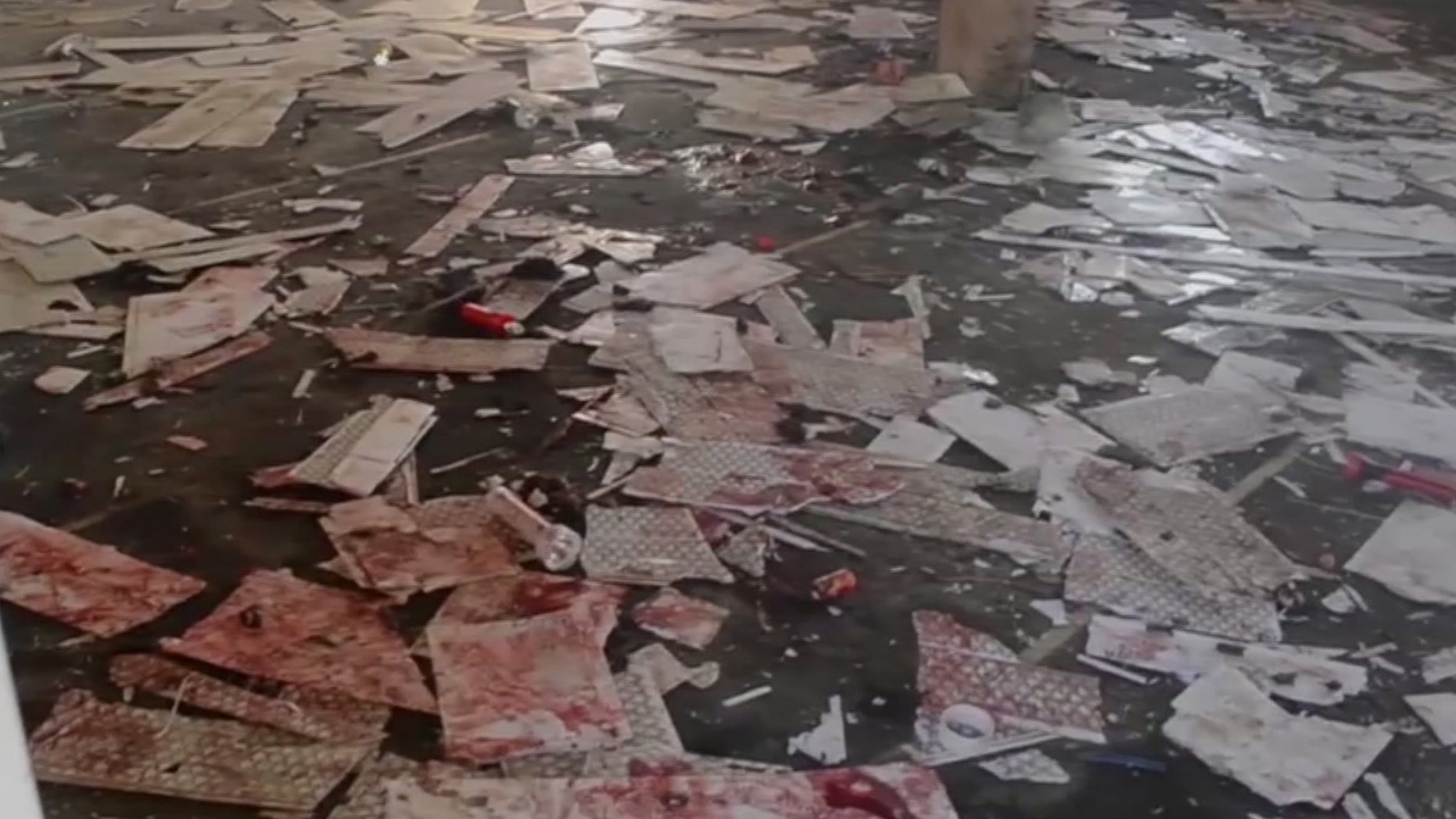 This image taken from TV, shows the interior of a mosque after a deadly attack by a suicide bomber, in Mubi, Adamawa State, Nigeria, Tuesday Nov. 21, 2017.