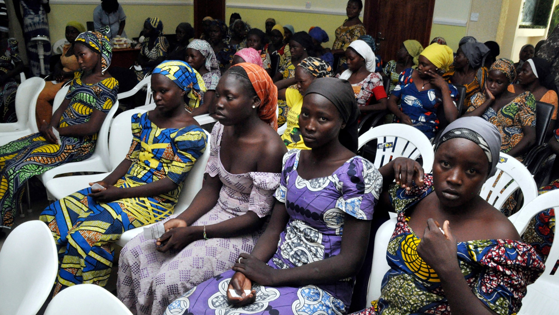 Chibok school girls recently freed from Boko Haram captivity are seen in Abuja, Nigeria, Sunday, May 7, 2017.
