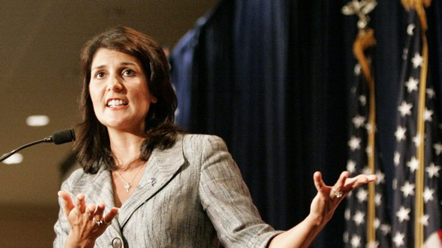 South Carolina's Governor Nikki Haley gestures as she address the RedState Gathering of conservative activists in Charleston, South Carolina, August 13, 2011.